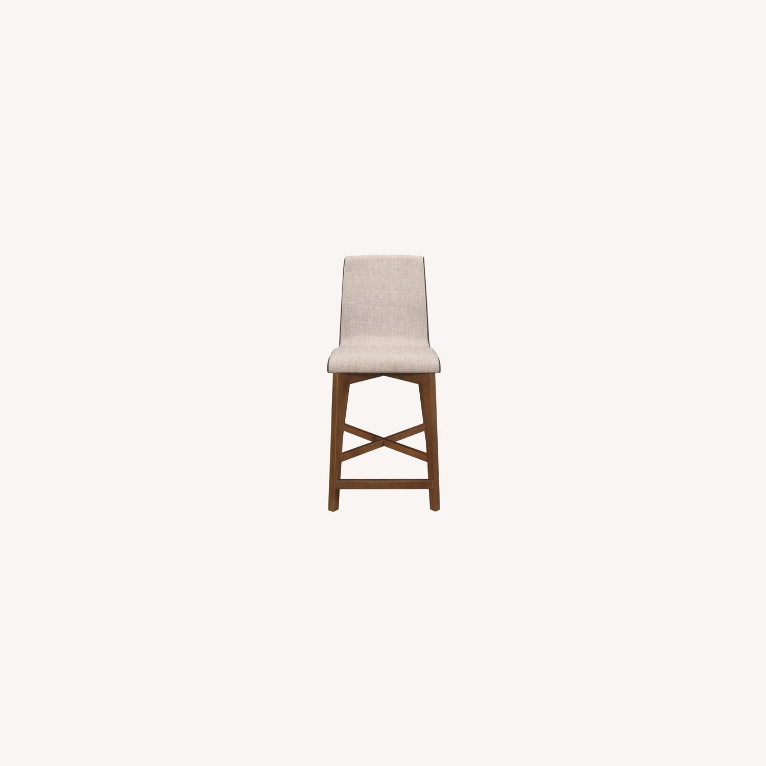 Counter Height Stool In 2-Tone Grey Fabric Finish - image-5