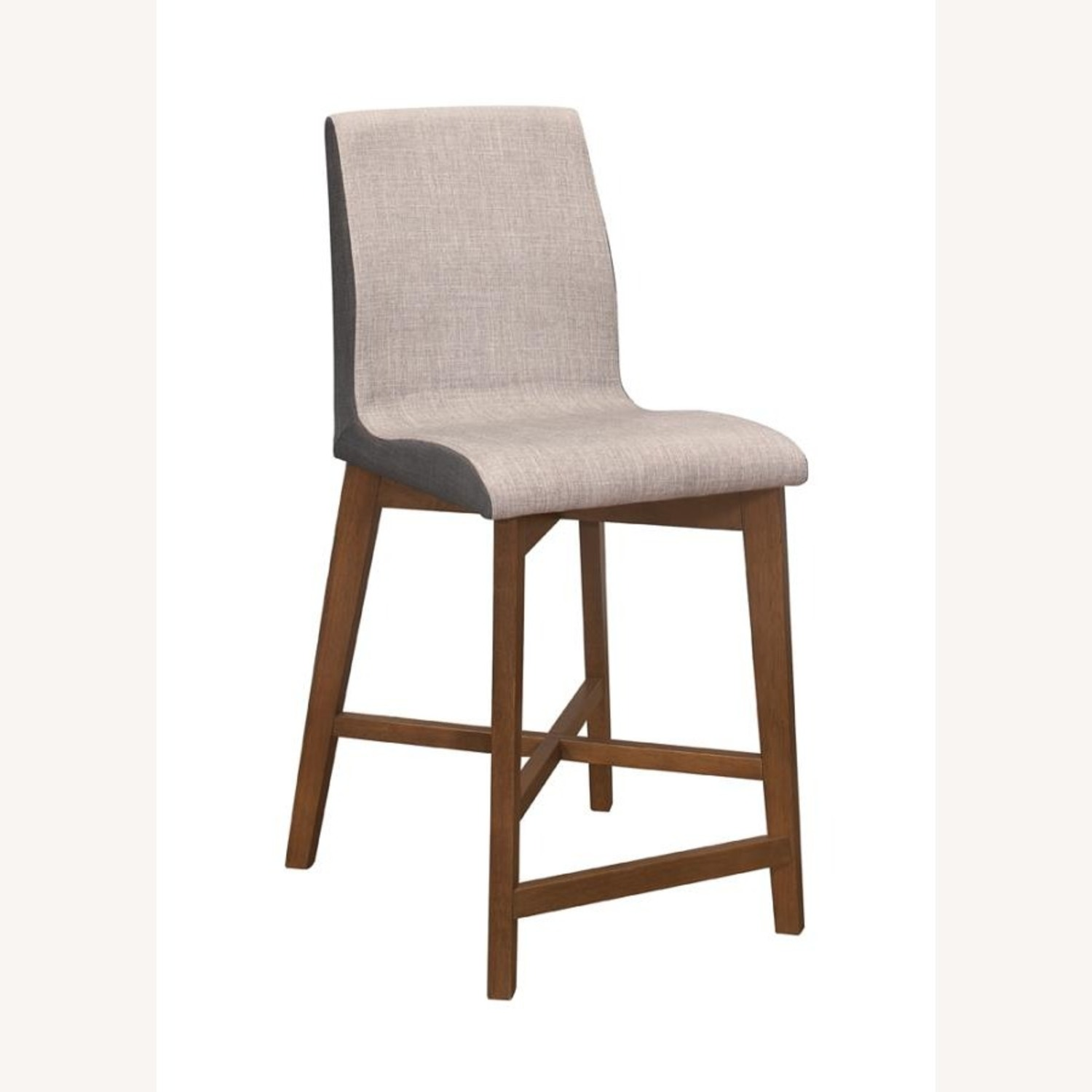Counter Height Stool In 2-Tone Grey Fabric Finish - image-0