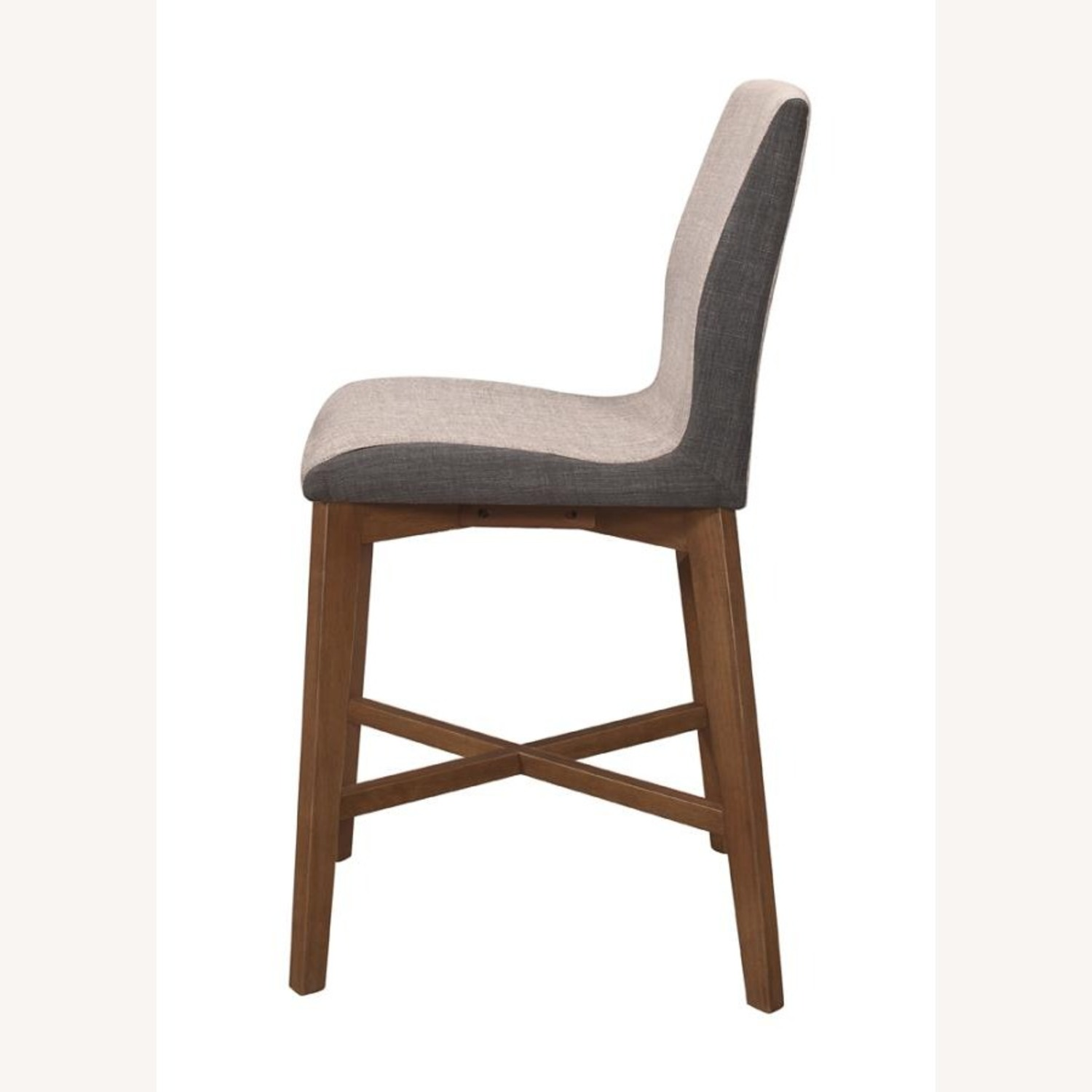 Counter Height Stool In 2-Tone Grey Fabric Finish - image-2