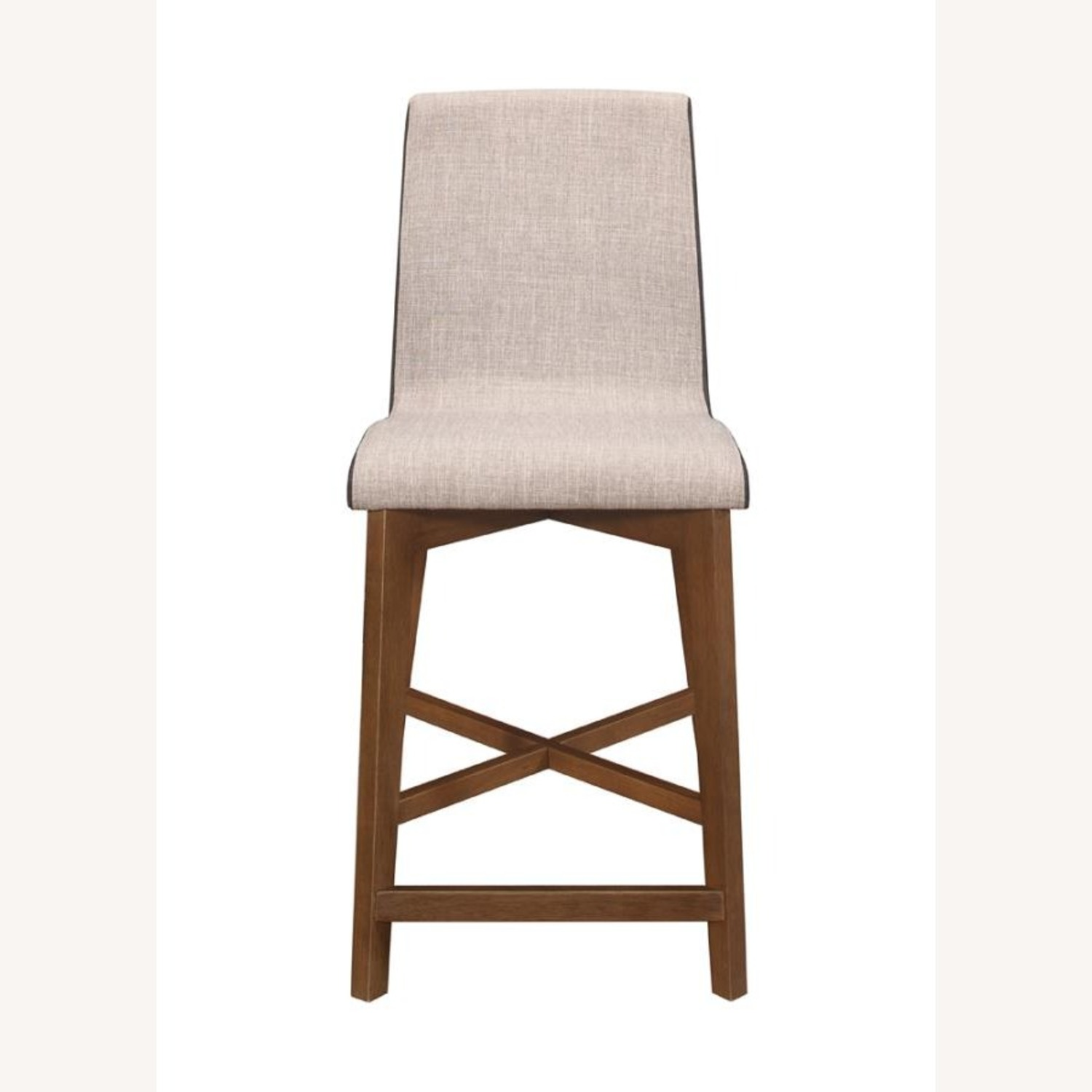 Counter Height Stool In 2-Tone Grey Fabric Finish - image-1