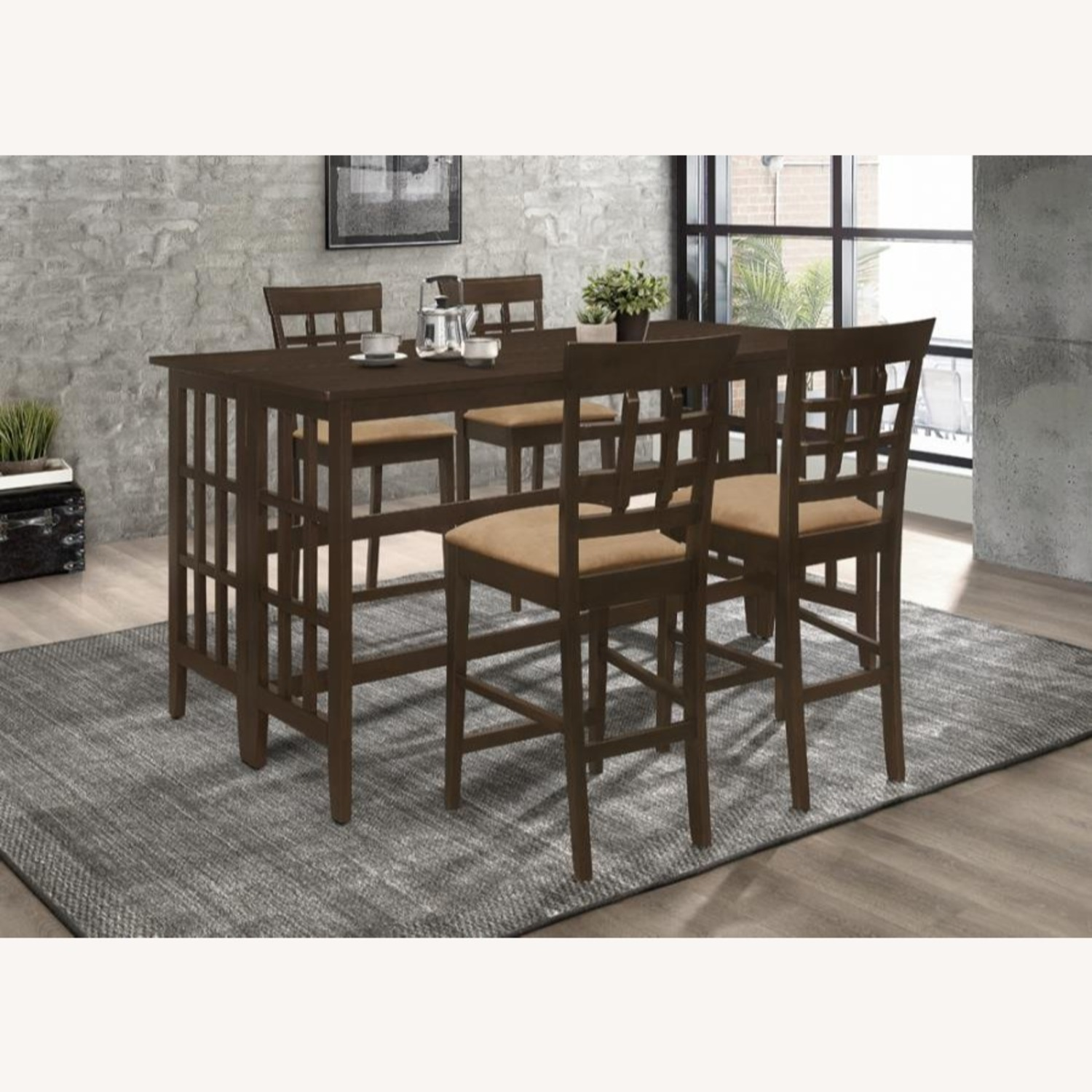 Counter Table In Brown W/ Table Top Drop Down - image-3
