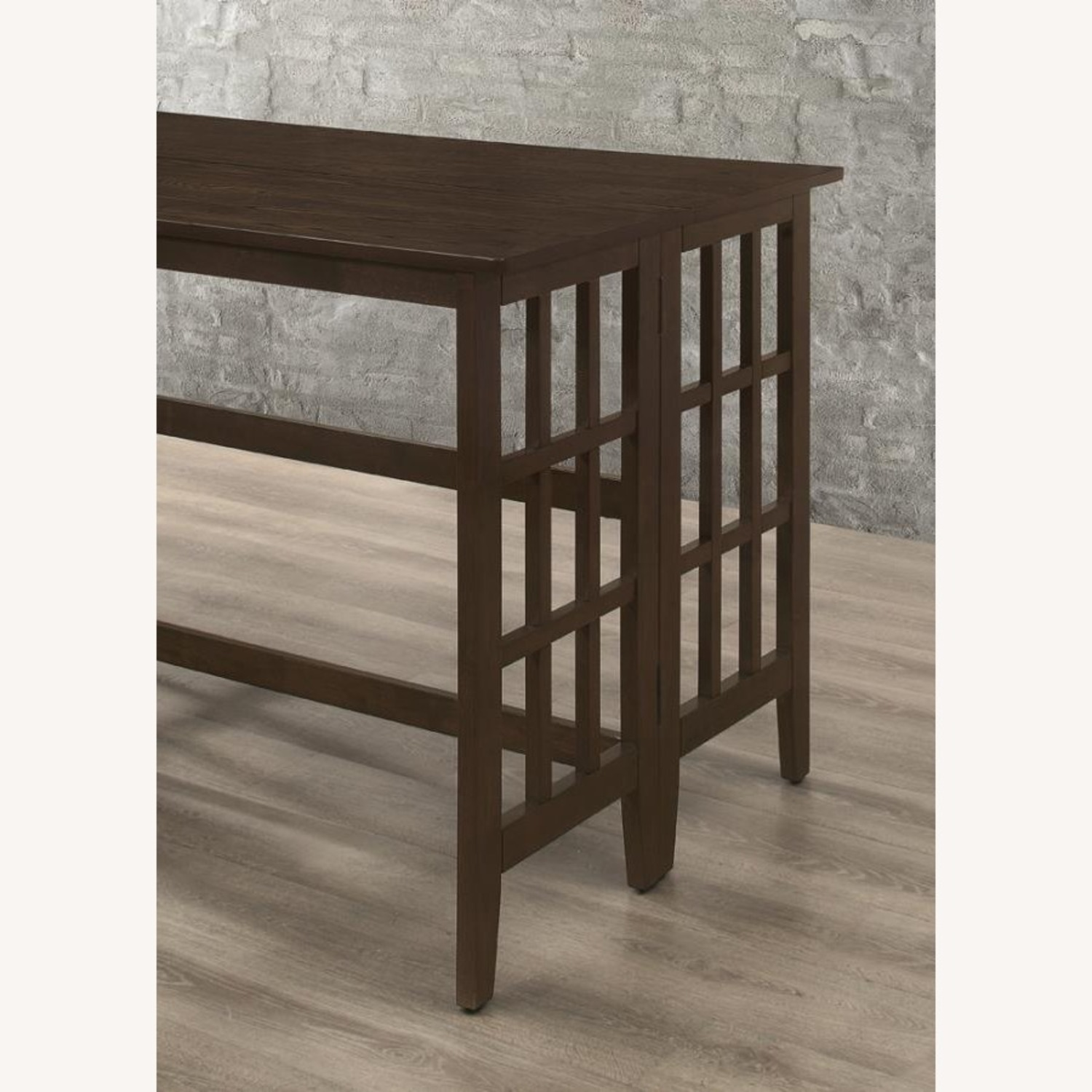 Counter Table In Brown W/ Table Top Drop Down - image-2