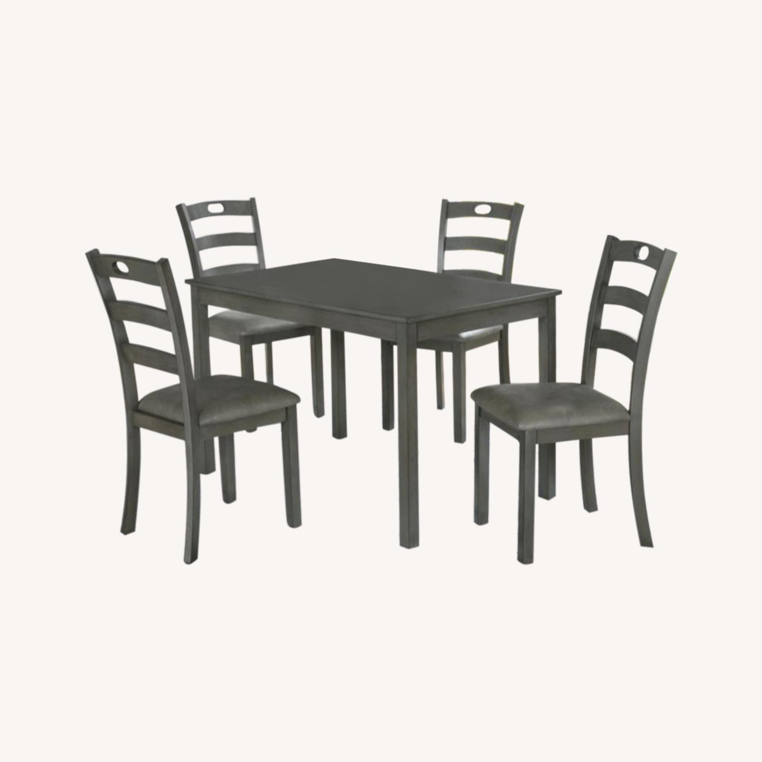5-Piece Dining Set In Grey Wood & Fabric Finish - image-0