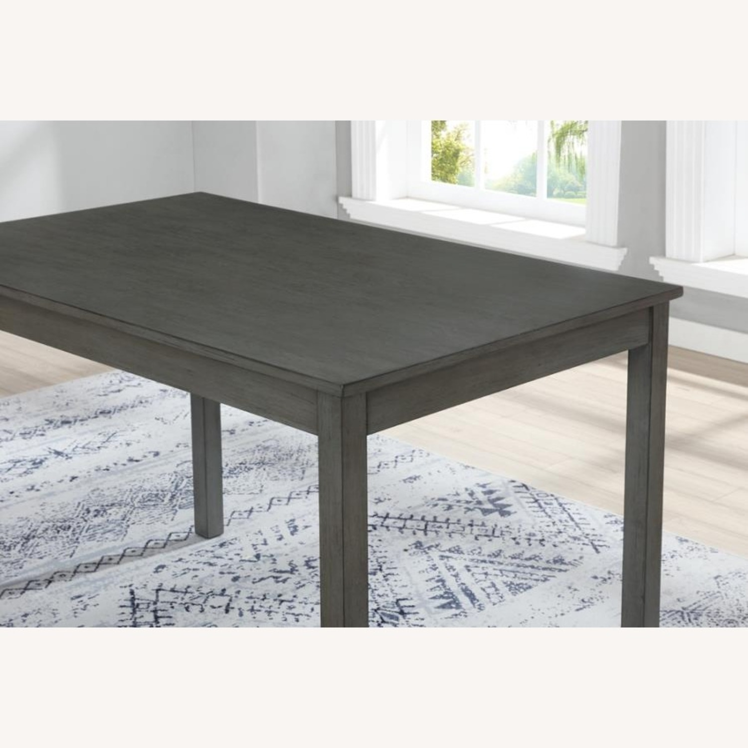 5-Piece Dining Set In Grey Wood & Fabric Finish - image-2