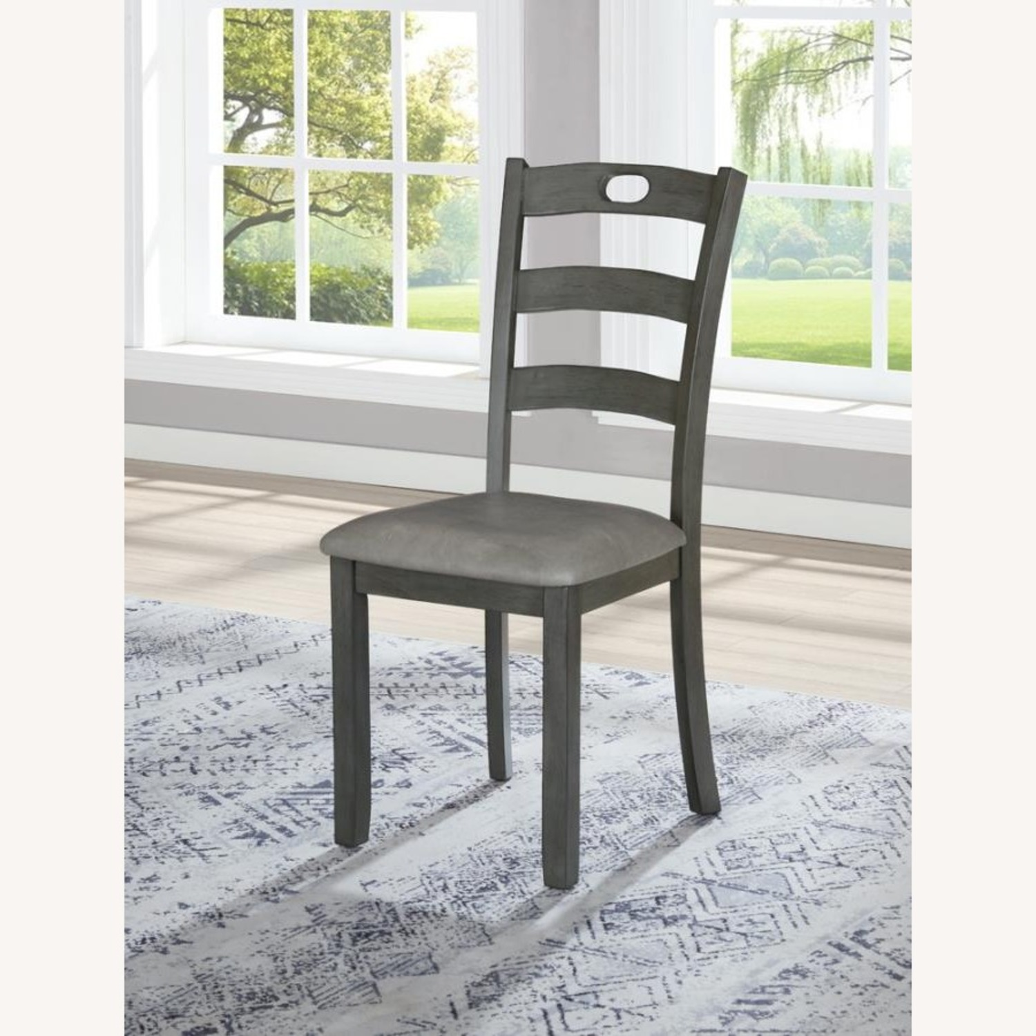 5-Piece Dining Set In Grey Wood & Fabric Finish - image-3