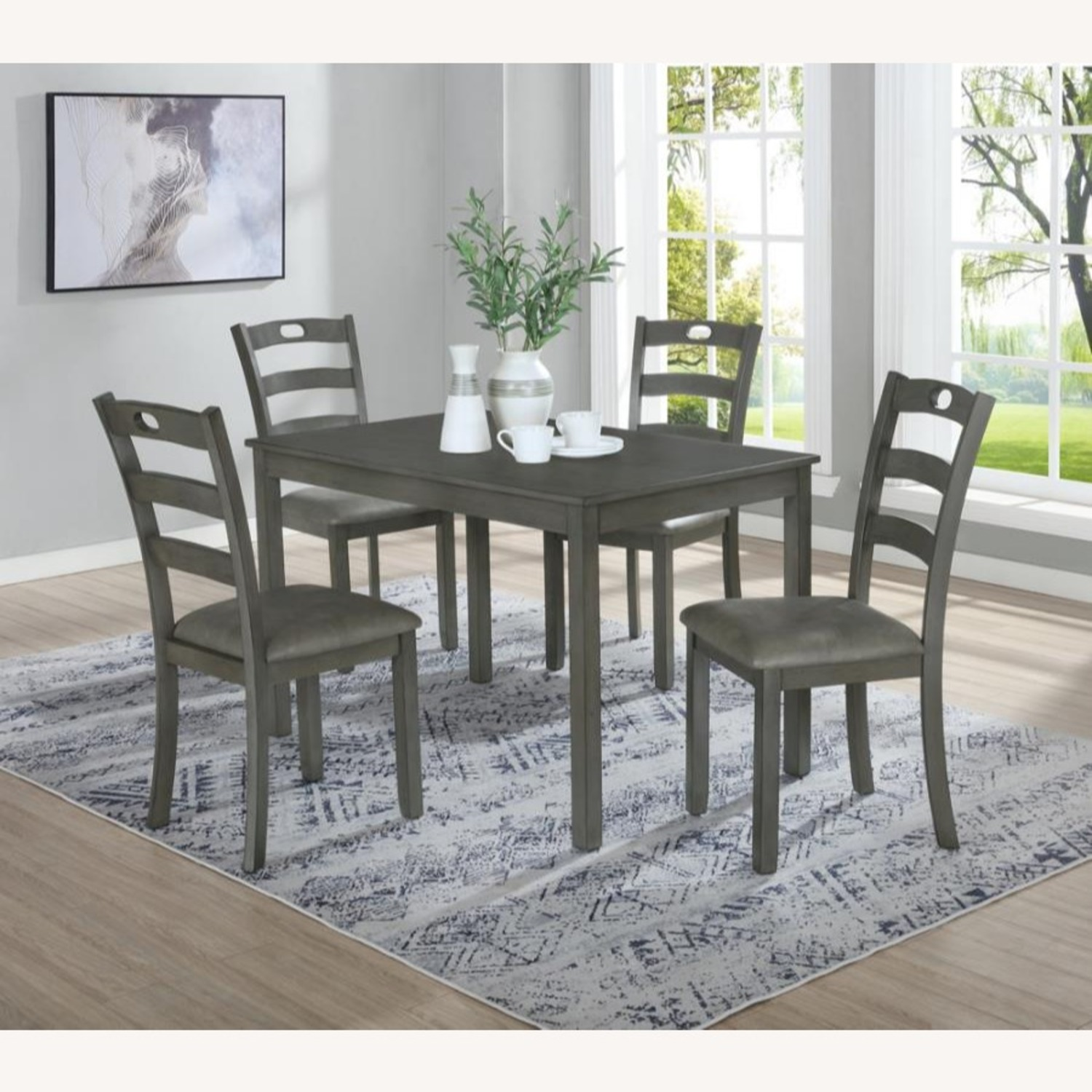 5-Piece Dining Set In Grey Wood & Fabric Finish - image-5