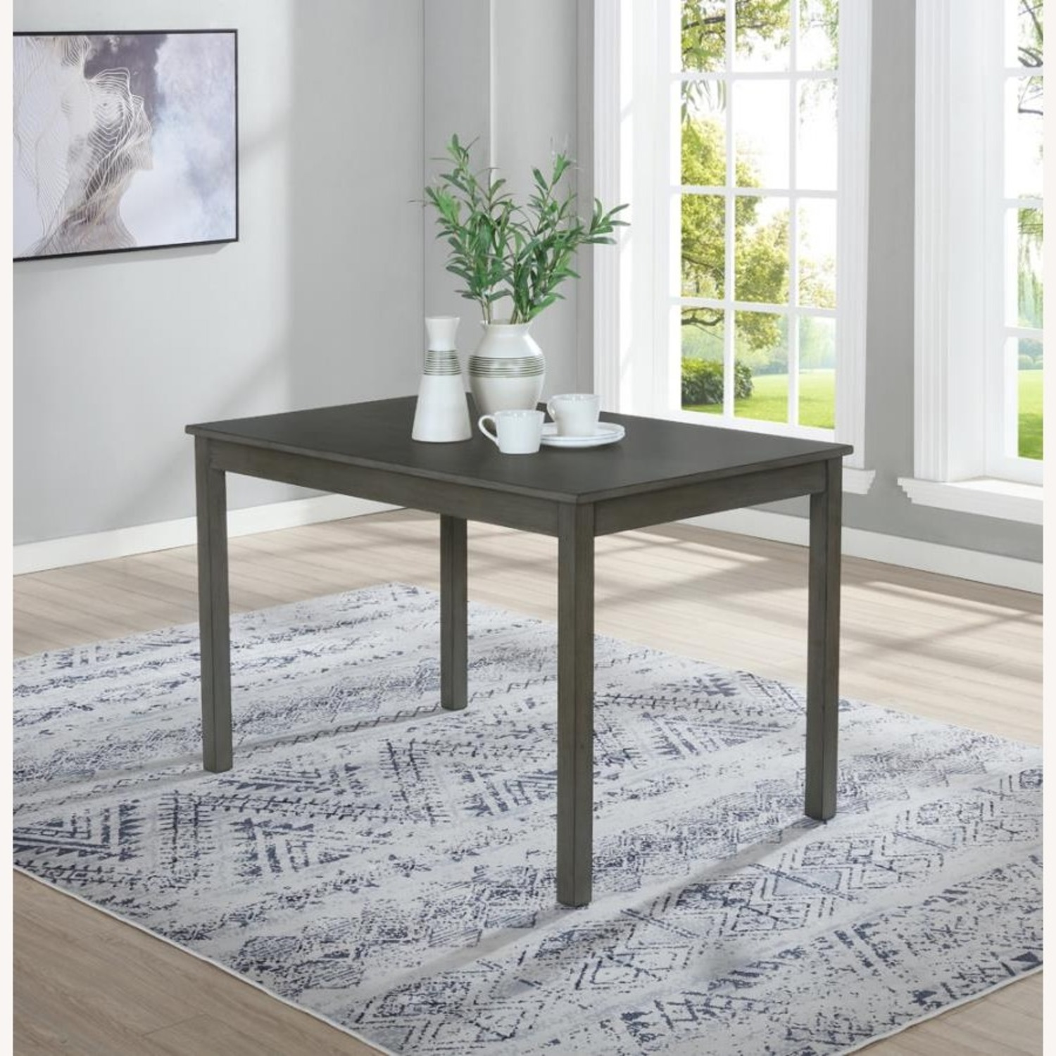 5-Piece Dining Set In Grey Wood & Fabric Finish - image-4
