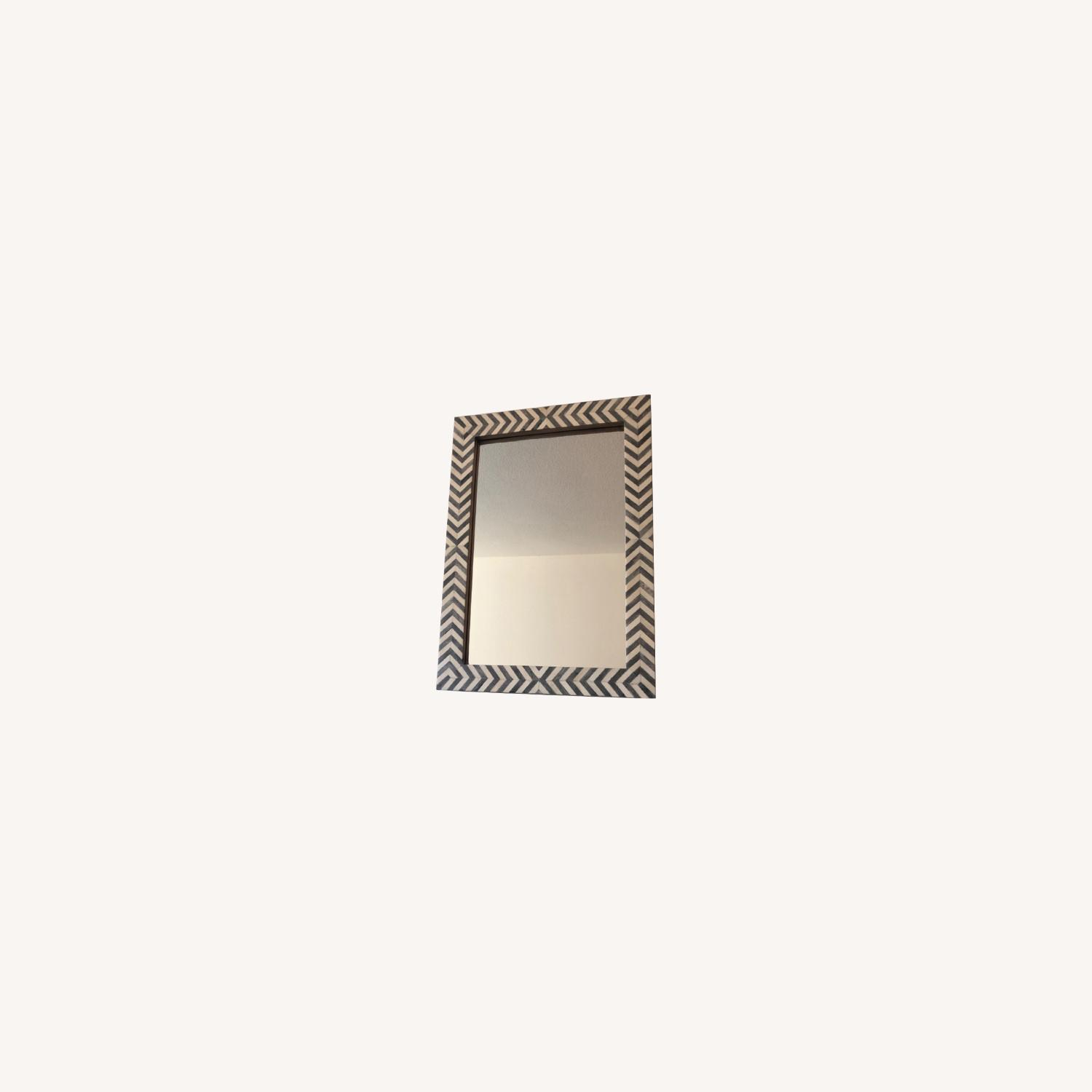 West Elm Parsons Wall Mirror, Gray Herringbone - image-0
