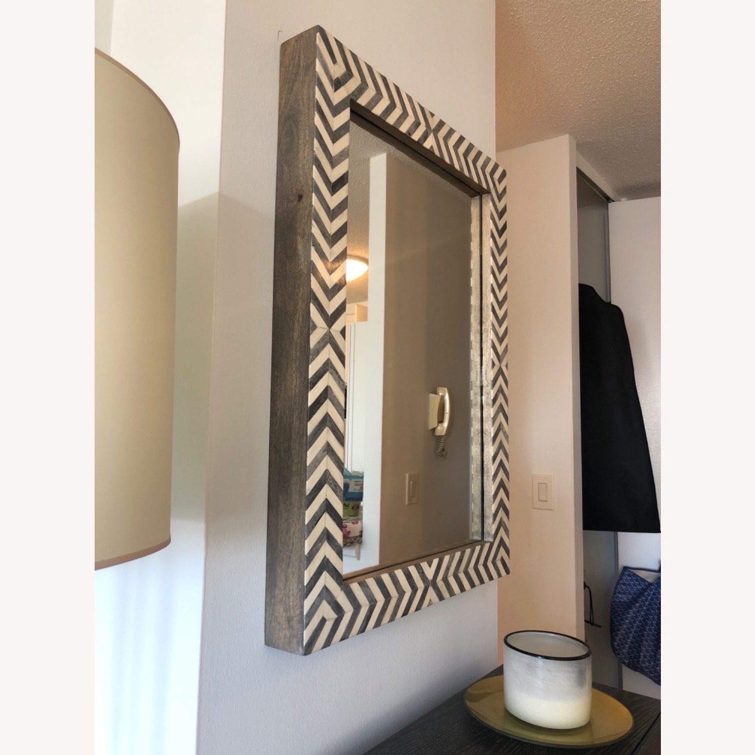West Elm Parsons Wall Mirror, Gray Herringbone - image-3