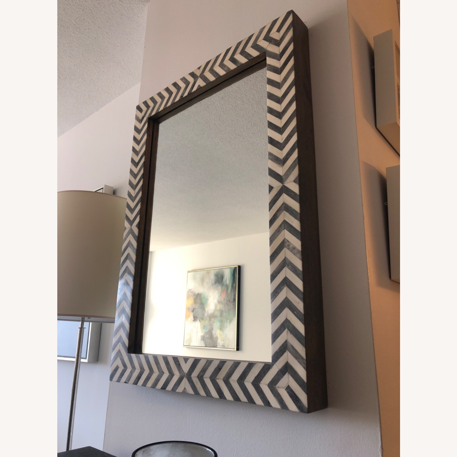 West Elm Parsons Wall Mirror, Gray Herringbone - image-1
