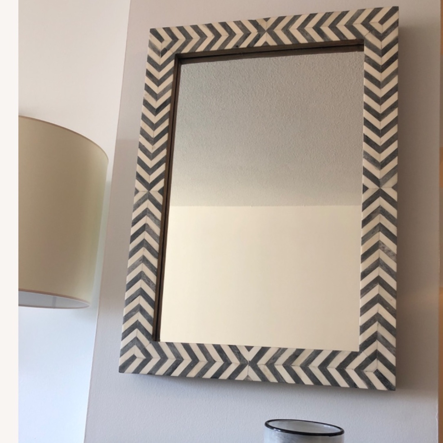 West Elm Parsons Wall Mirror, Gray Herringbone - image-2