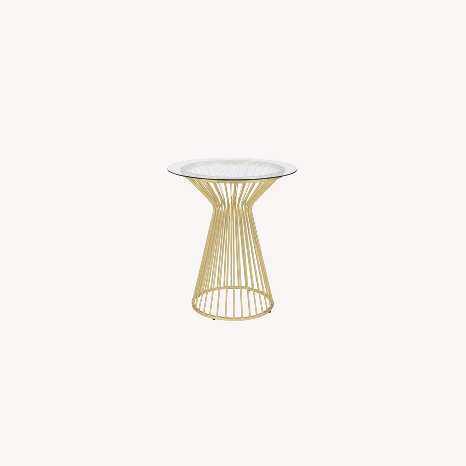 Bar Table W Round Wire Frame In Matte Brass - image-4