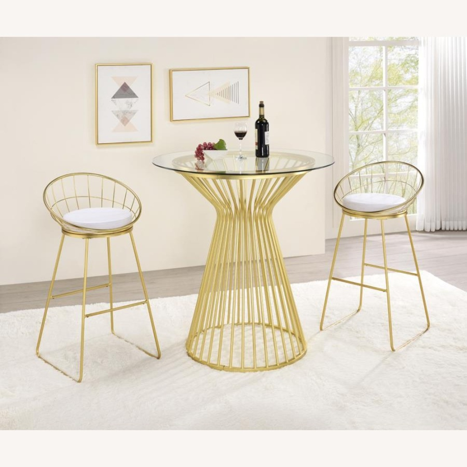 Bar Table W Round Wire Frame In Matte Brass - image-3