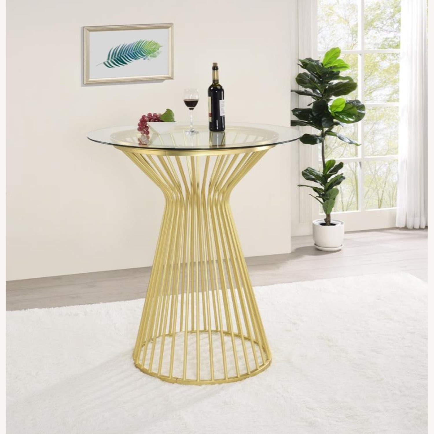 Bar Table W Round Wire Frame In Matte Brass - image-2