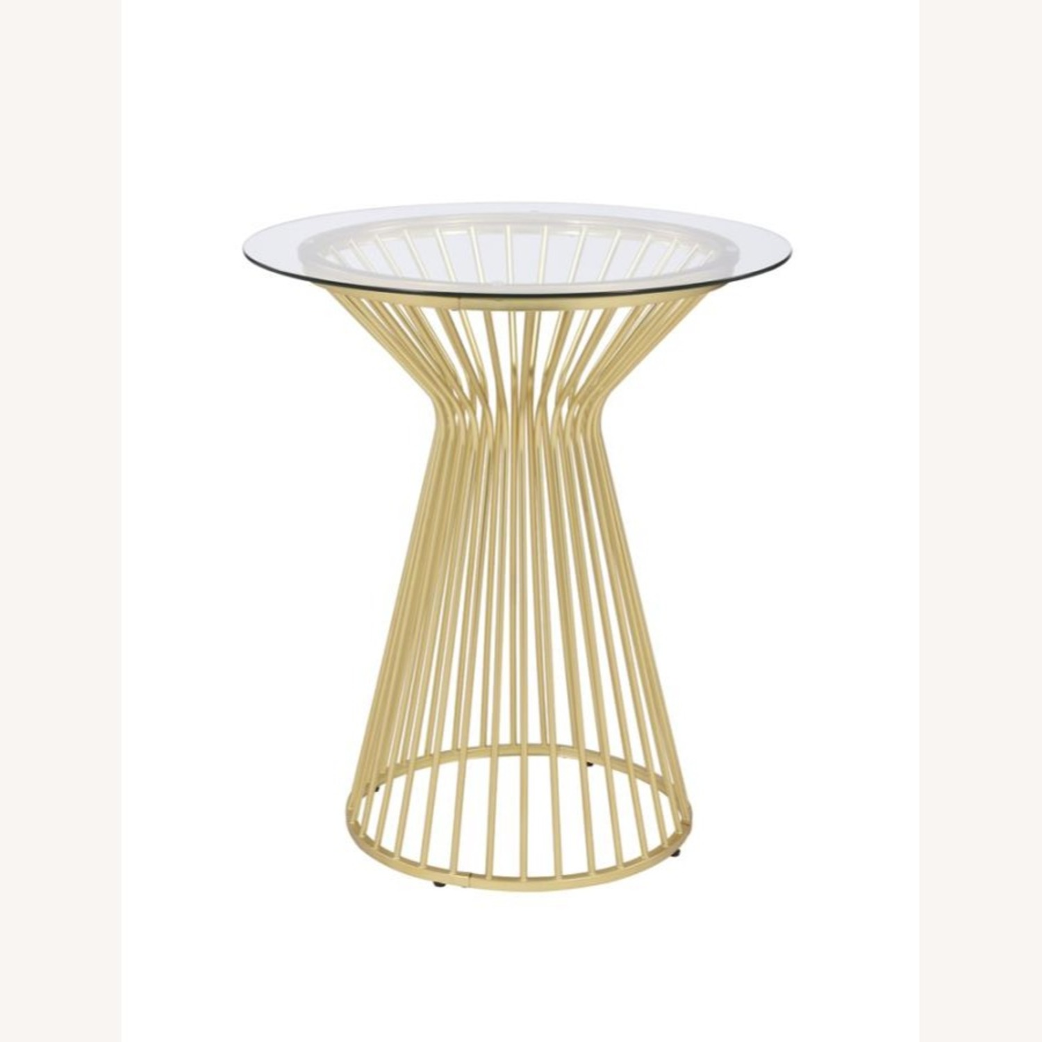 Bar Table W Round Wire Frame In Matte Brass - image-0