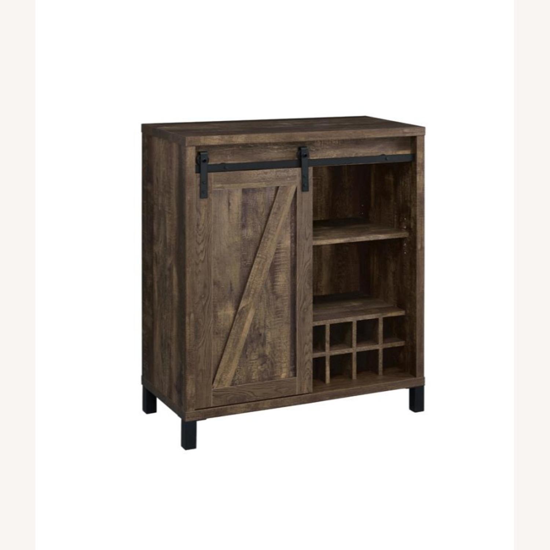 Bar Cabinet In Rustic Oak W/ Adjustable Shelves - image-0