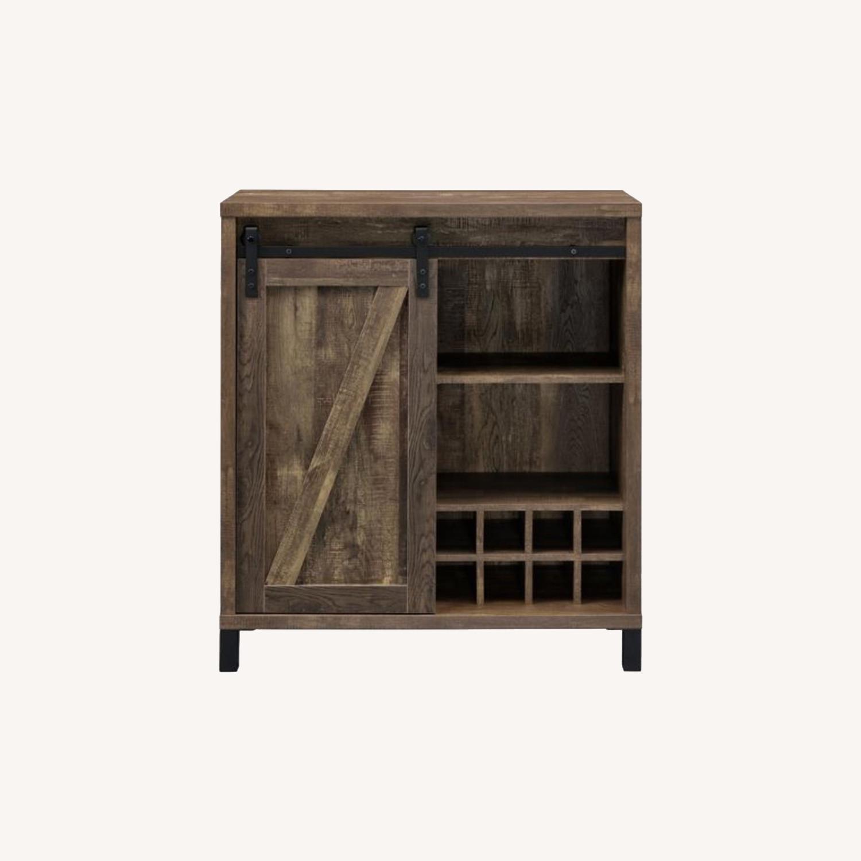 Bar Cabinet In Rustic Oak W/ Adjustable Shelves - image-8