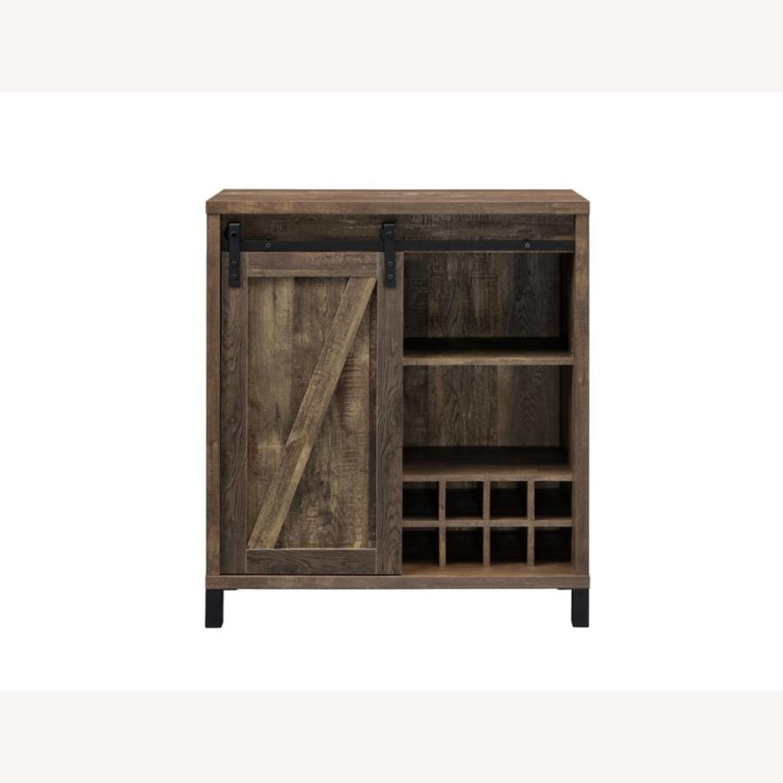 Bar Cabinet In Rustic Oak W/ Adjustable Shelves - image-1