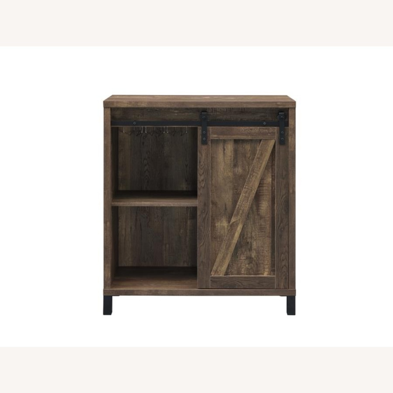 Bar Cabinet In Rustic Oak W/ Adjustable Shelves - image-2