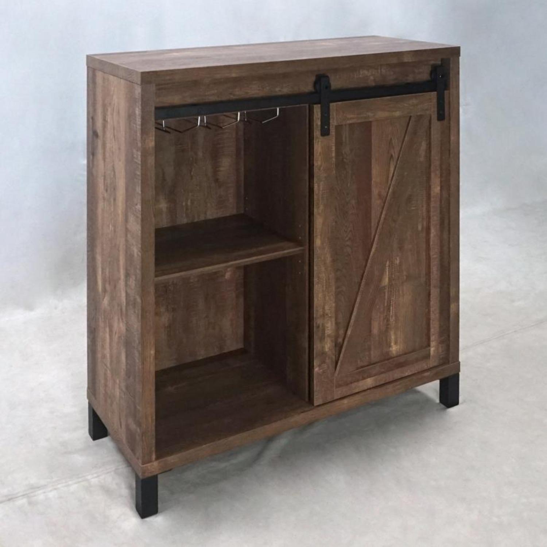 Bar Cabinet In Rustic Oak W/ Adjustable Shelves - image-6