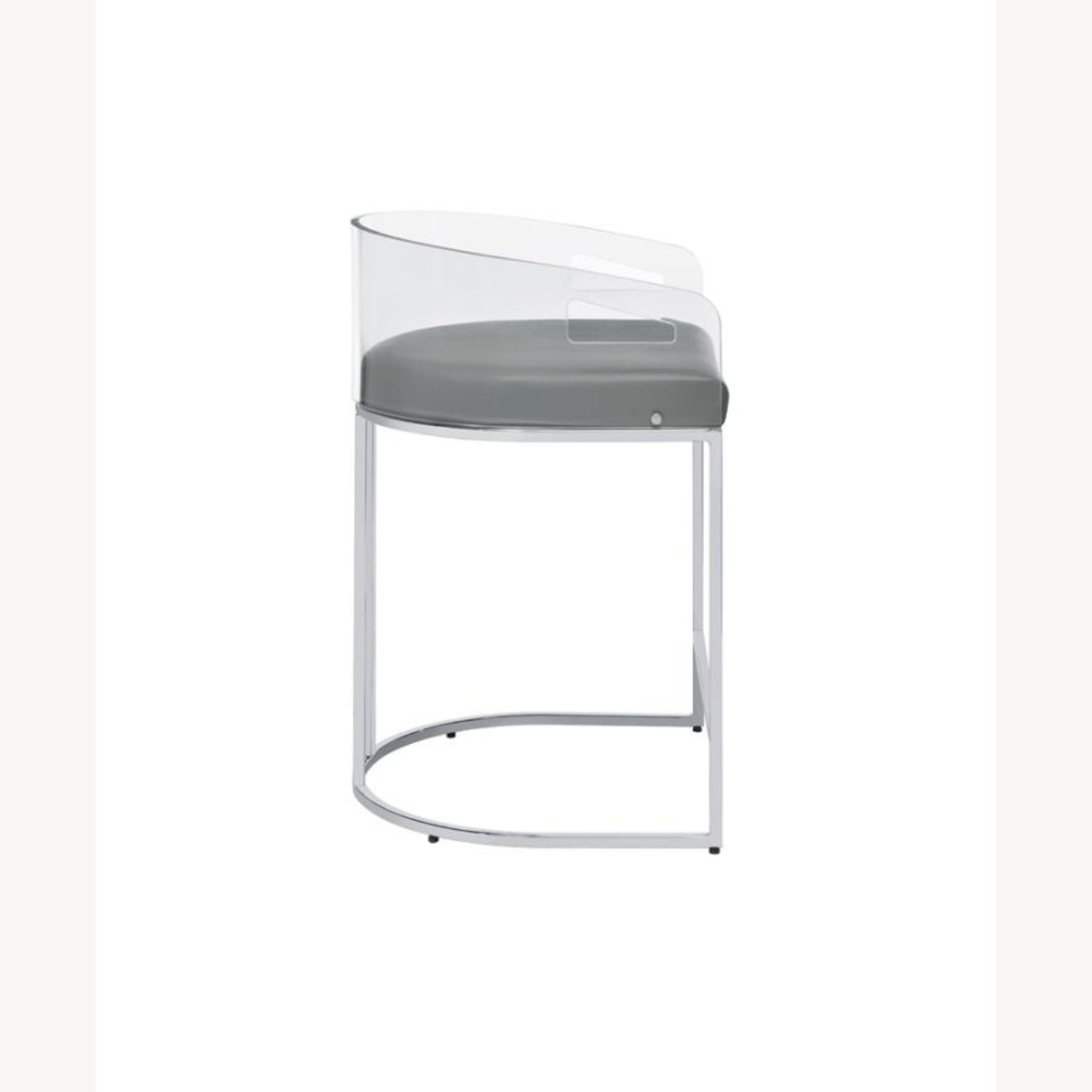 Stool In Grey Leather W/ Clear Acrylic Back - image-2