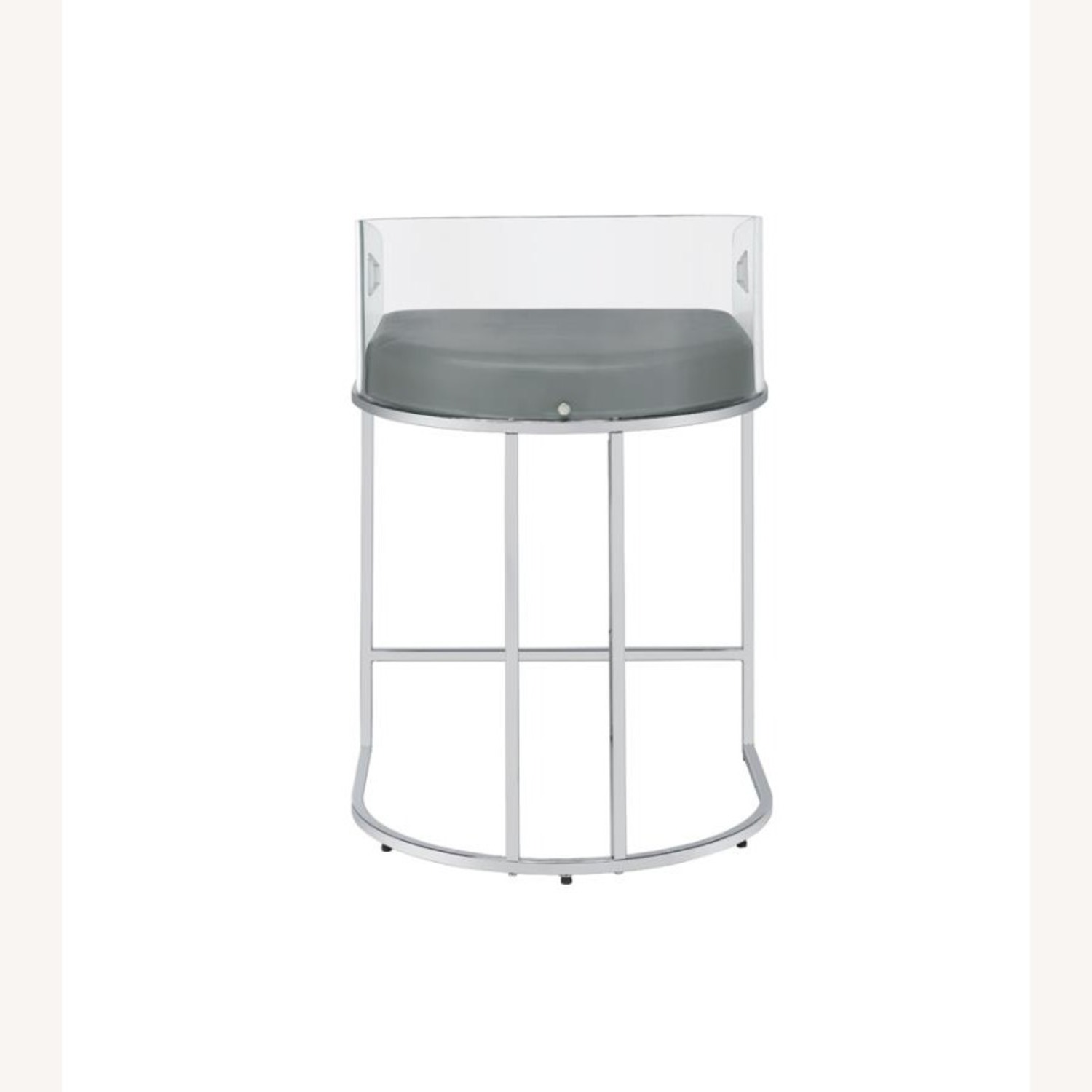 Stool In Grey Leather W/ Clear Acrylic Back - image-3