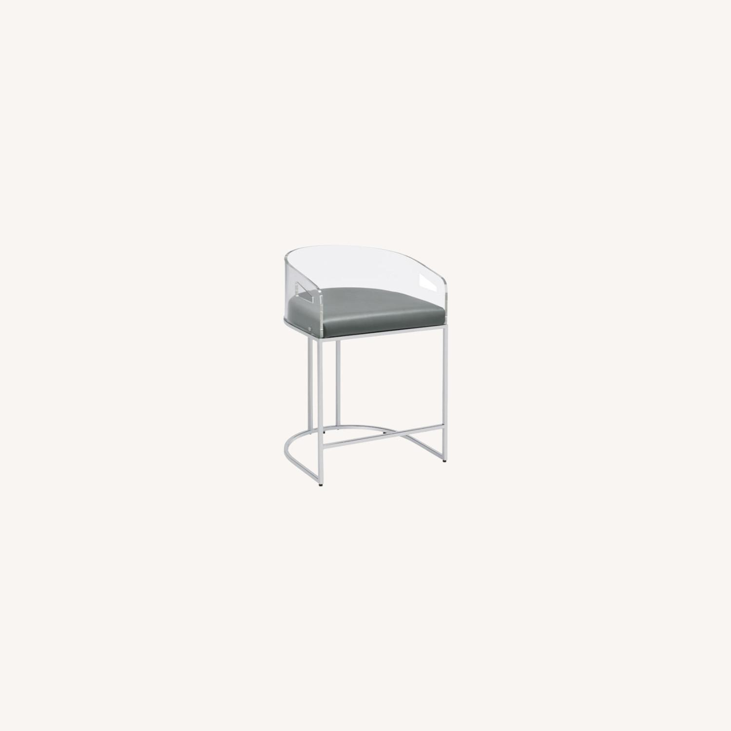 Stool In Grey Leather W/ Clear Acrylic Back - image-7