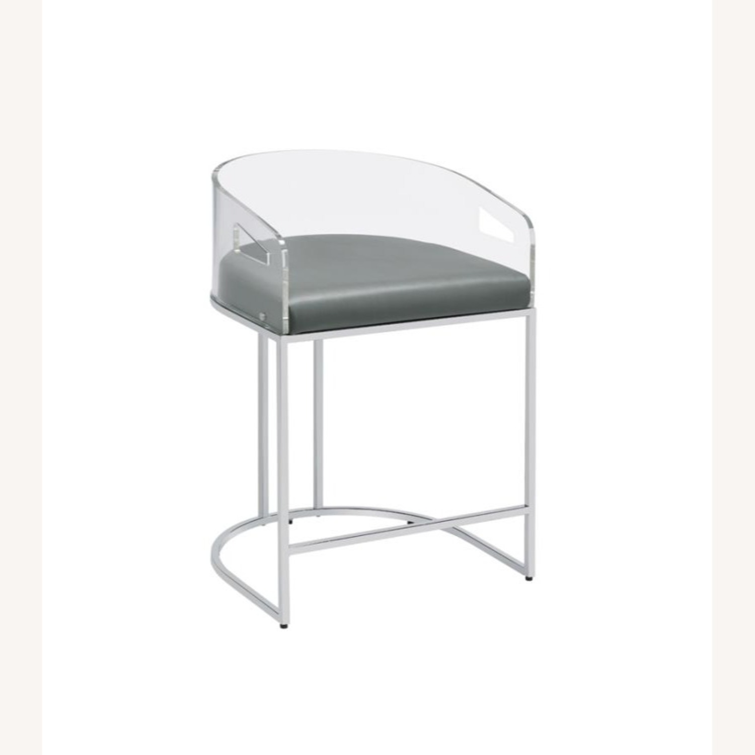 Stool In Grey Leather W/ Clear Acrylic Back - image-0