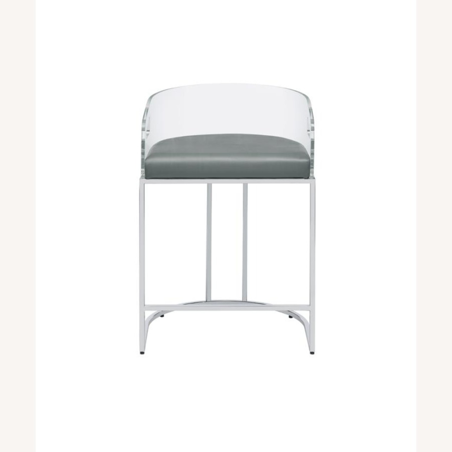 Stool In Grey Leather W/ Clear Acrylic Back - image-1