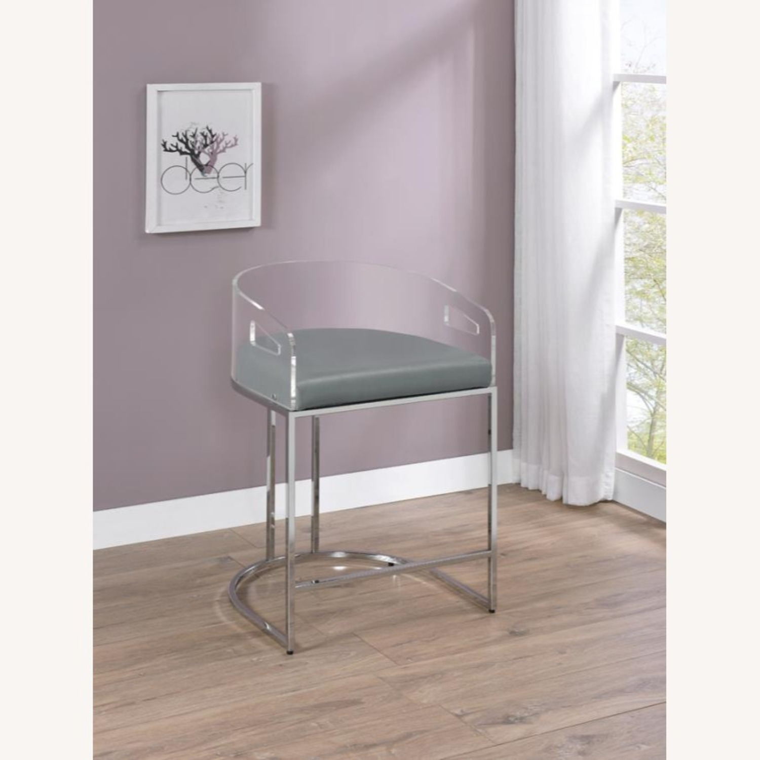 Stool In Grey Leather W/ Clear Acrylic Back - image-6