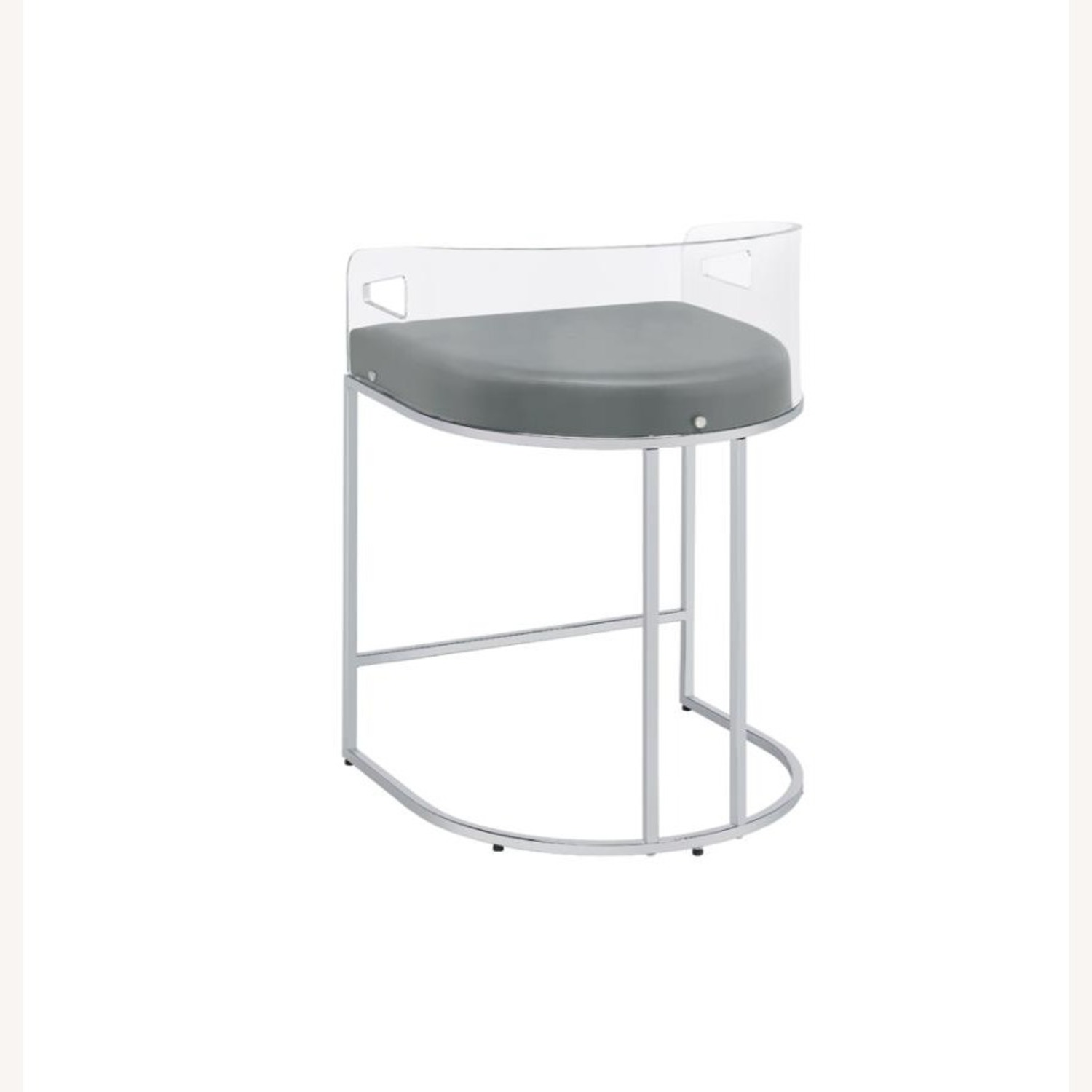 Stool In Grey Leather W/ Clear Acrylic Back - image-4