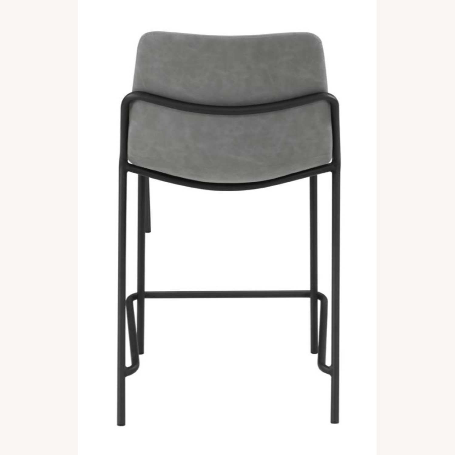 Counter Stool In Grey Leather & Black Metal Finish - image-2