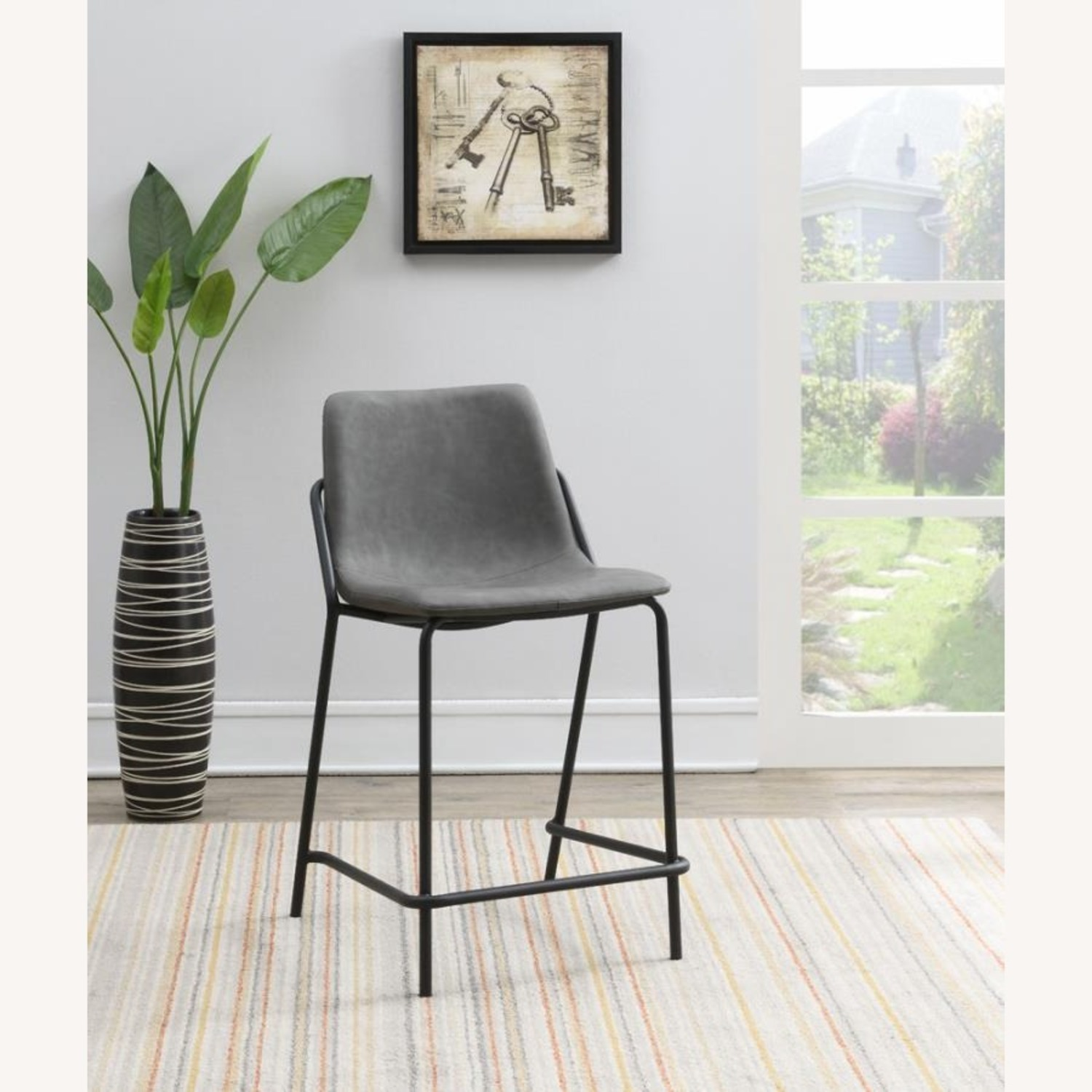 Counter Stool In Grey Leather & Black Metal Finish - image-4