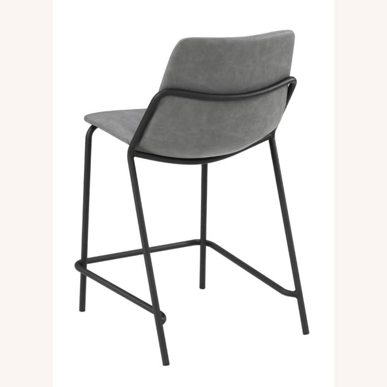 Counter Stool In Grey Leather & Black Metal Finish - image-3