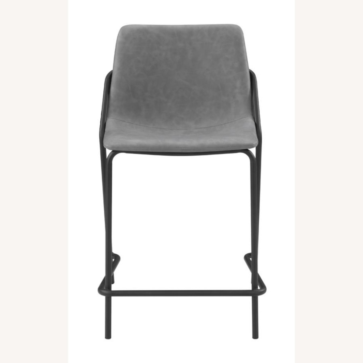 Counter Stool In Grey Leather & Black Metal Finish - image-1