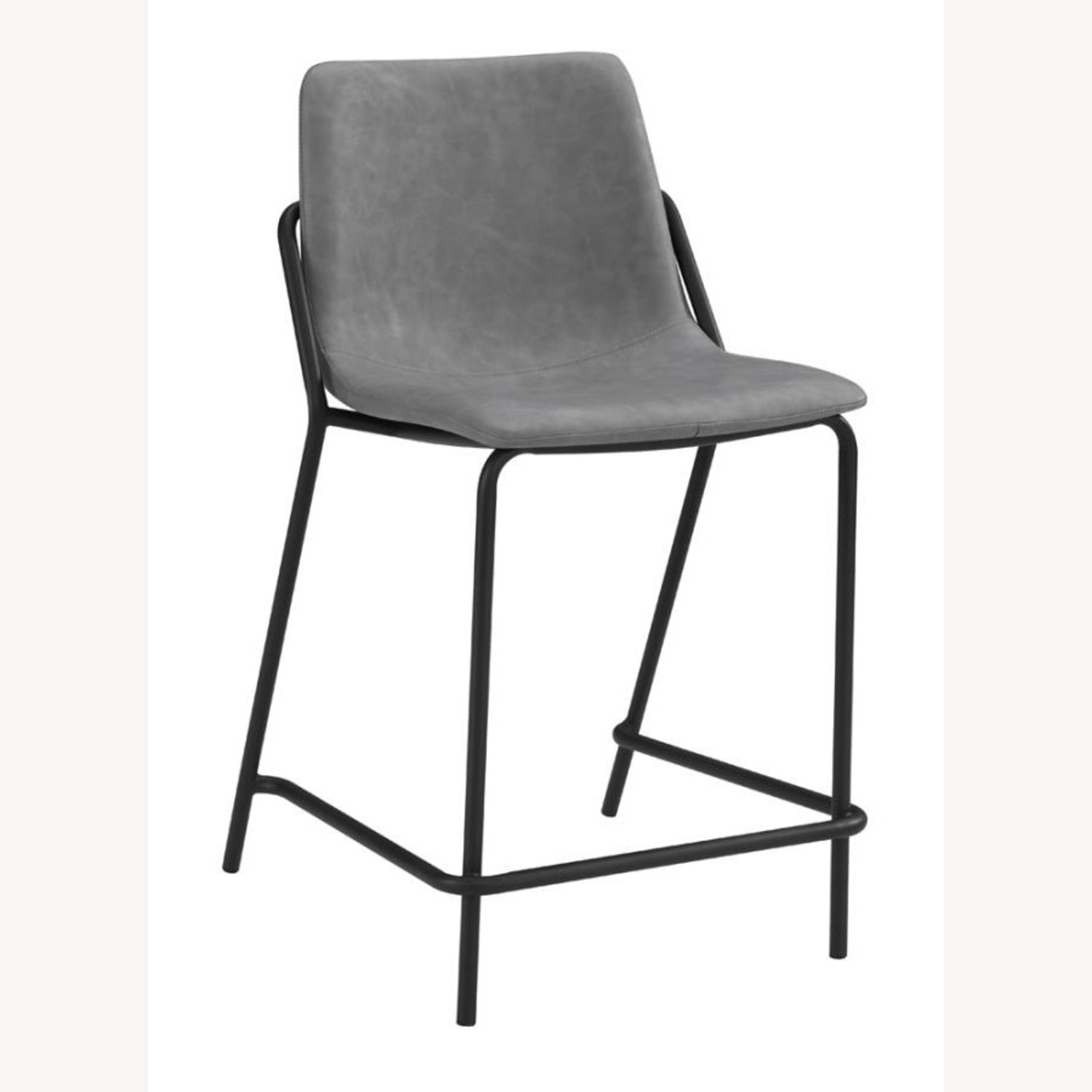 Counter Stool In Grey Leather & Black Metal Finish - image-0