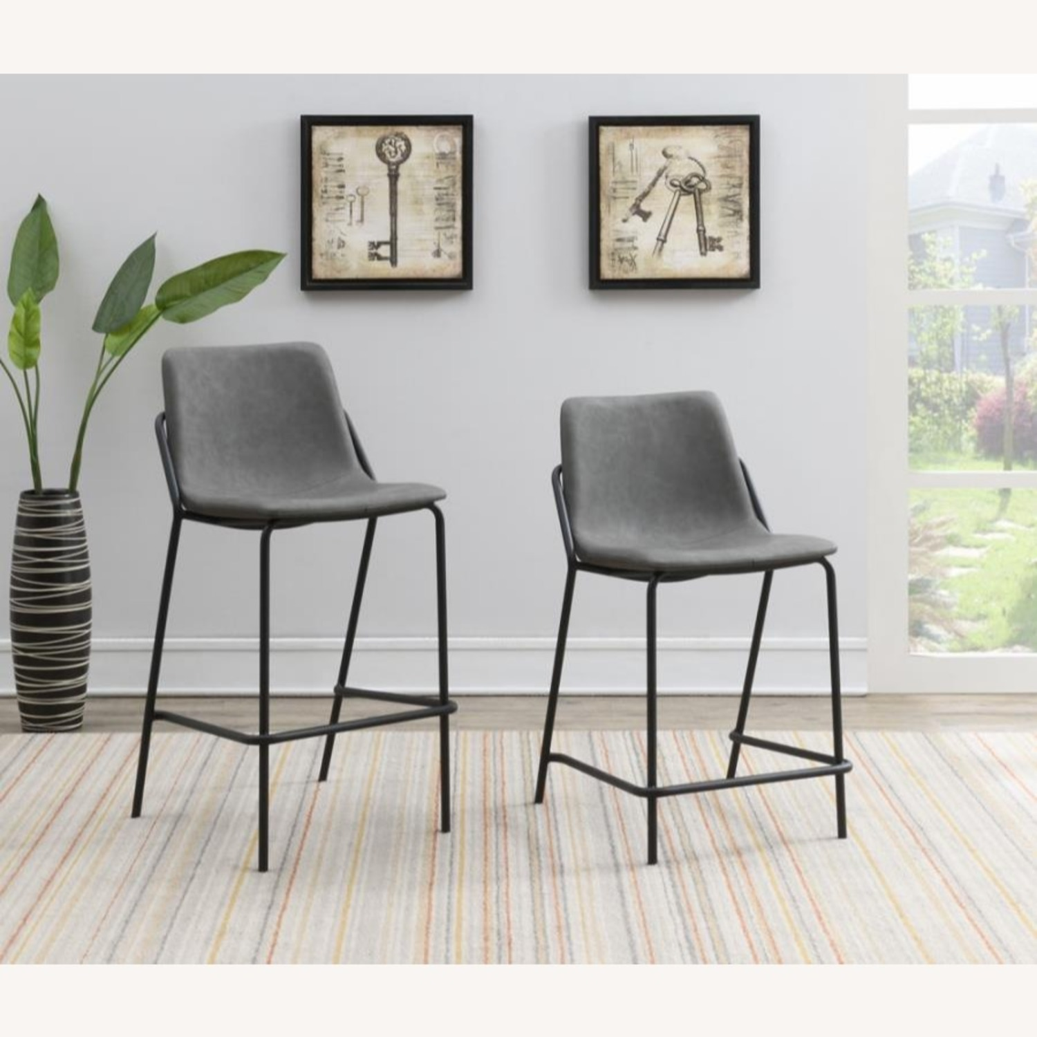 Counter Stool In Grey Leather & Black Metal Finish - image-5