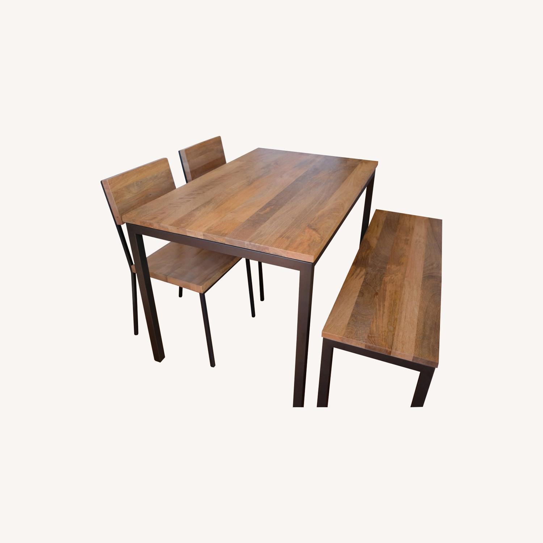 West Elm Mango Wood Box Frame Dining Room Set - image-0
