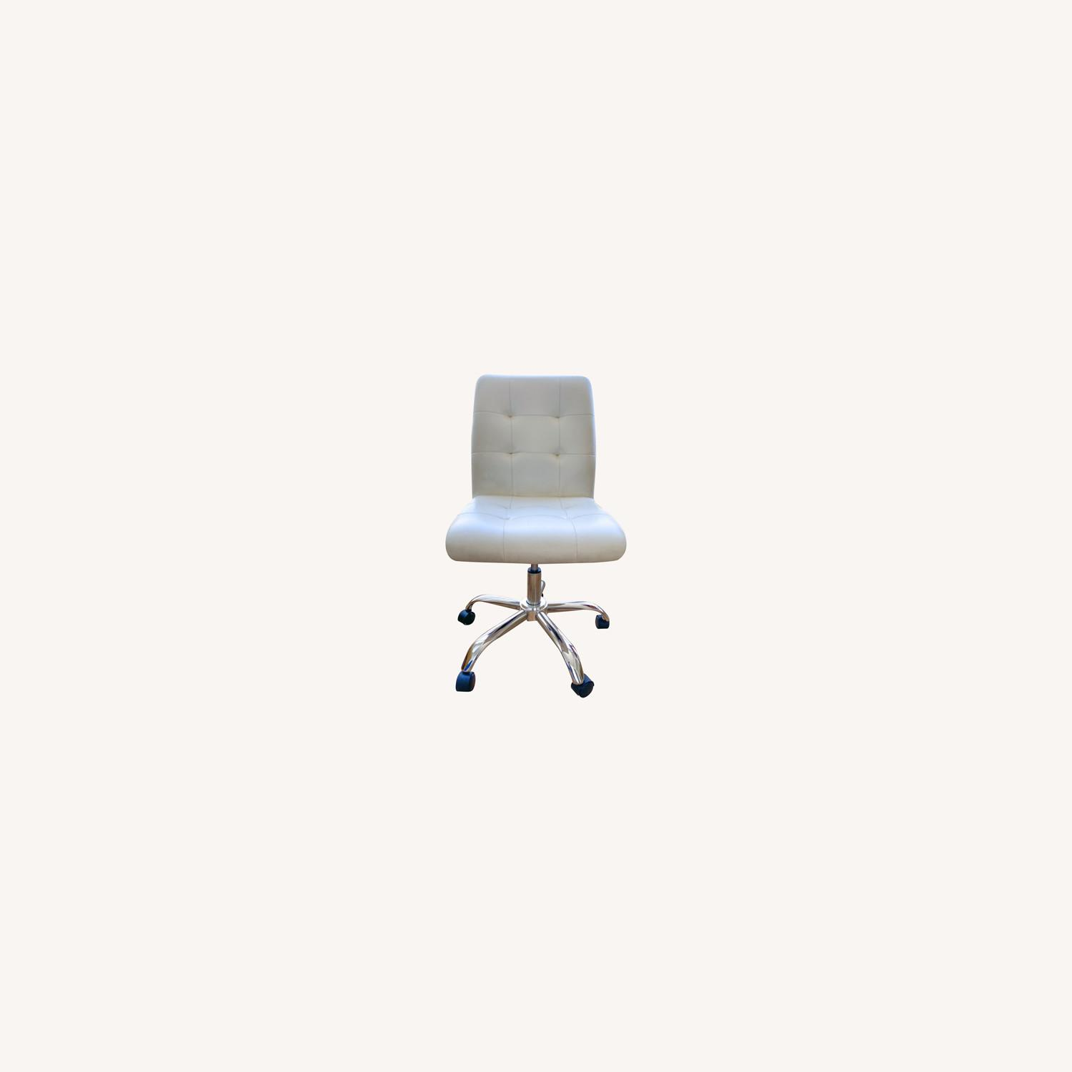 White Leather Desk Chair - image-0
