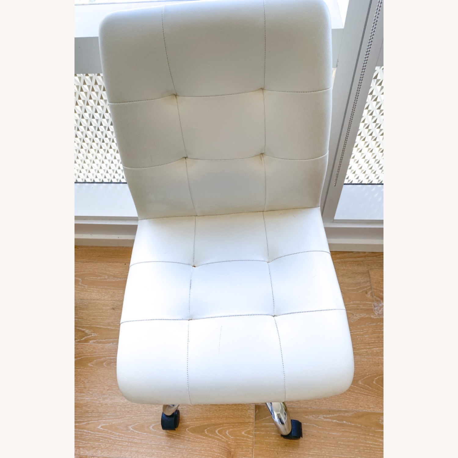 White Leather Desk Chair - image-4