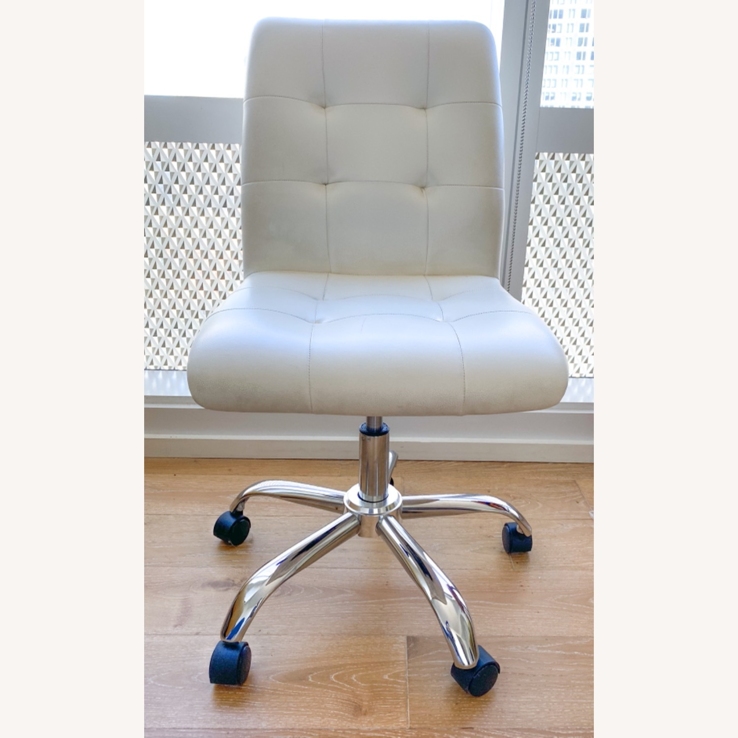 White Leather Desk Chair - image-2