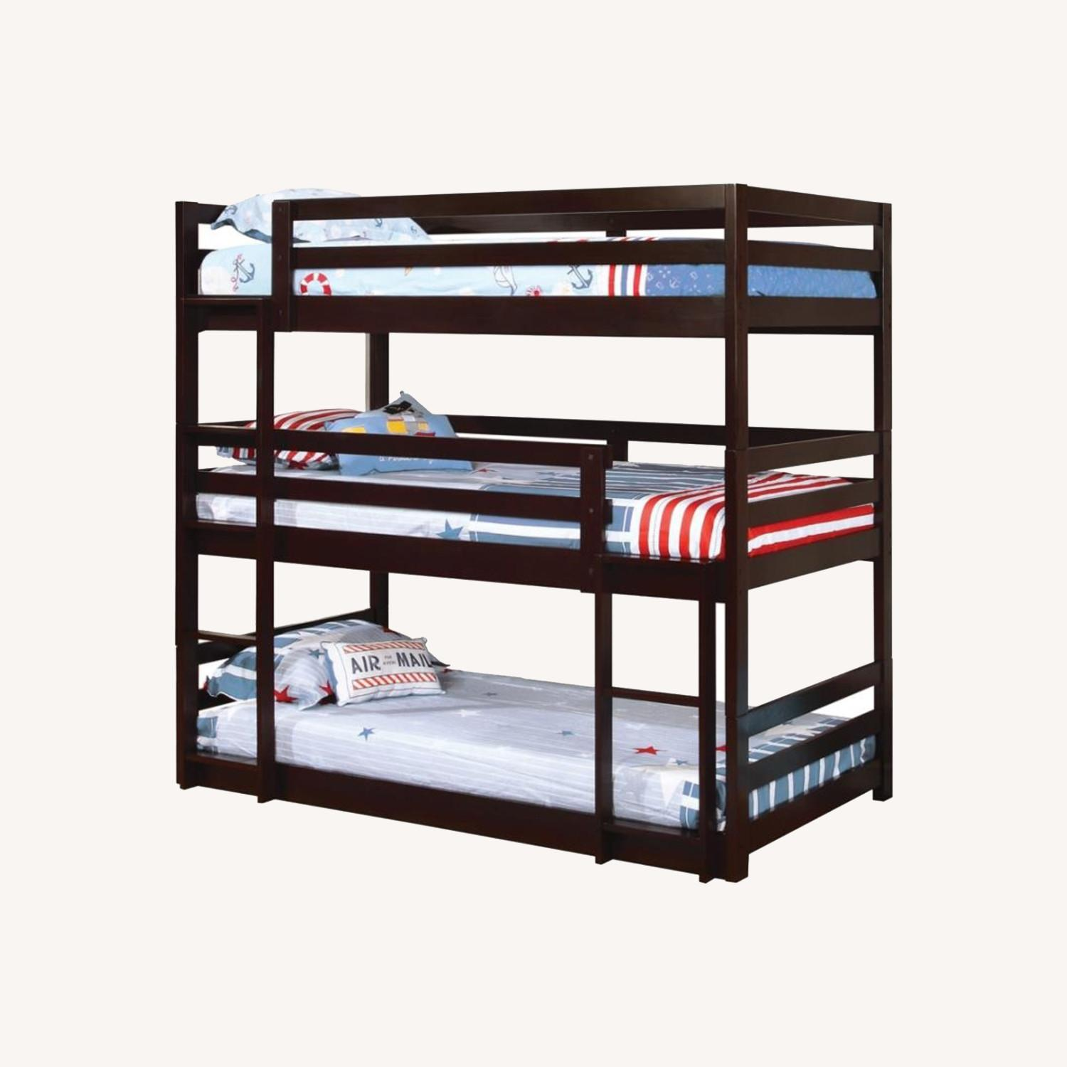 Triple Twin Bunk Bed In Cappuccino Finish - image-3