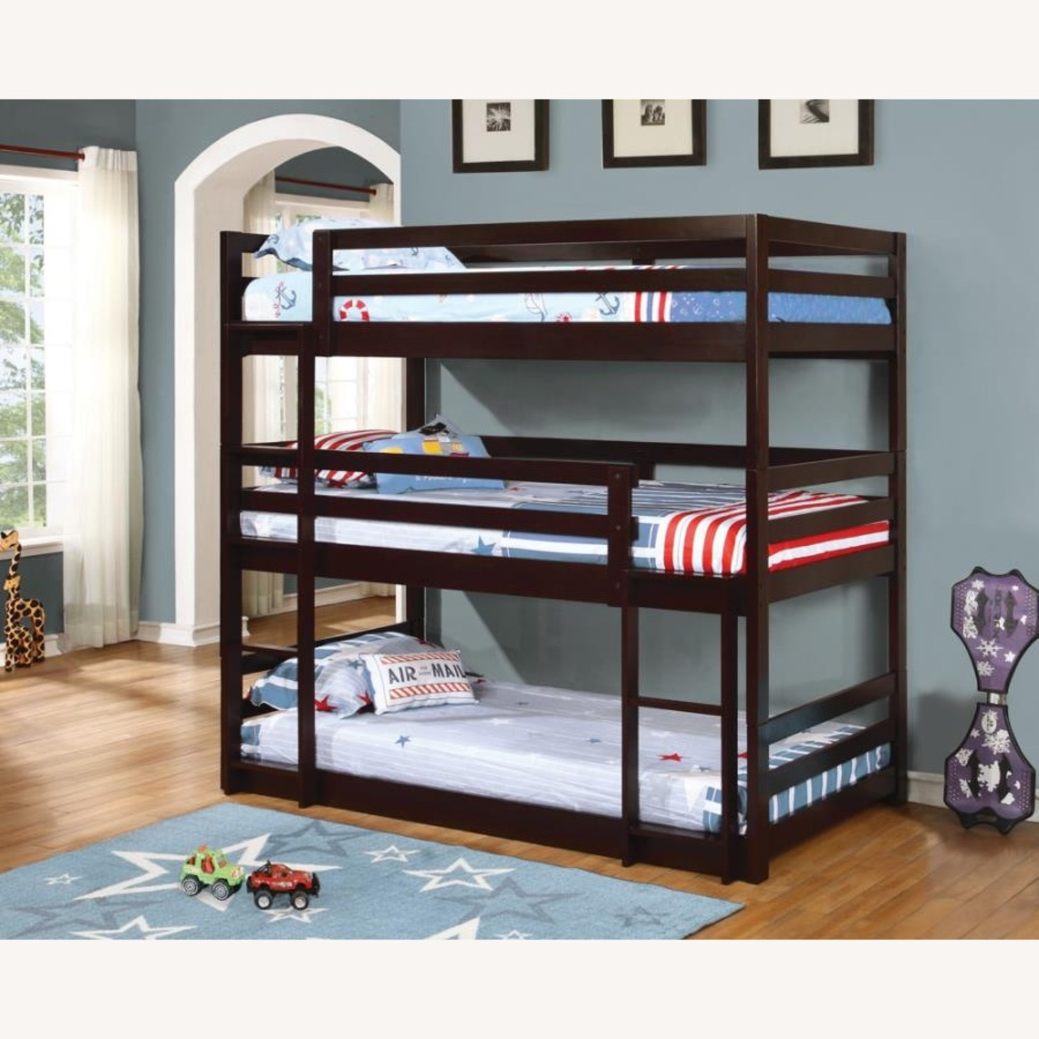 Triple Twin Bunk Bed In Cappuccino Finish - image-2