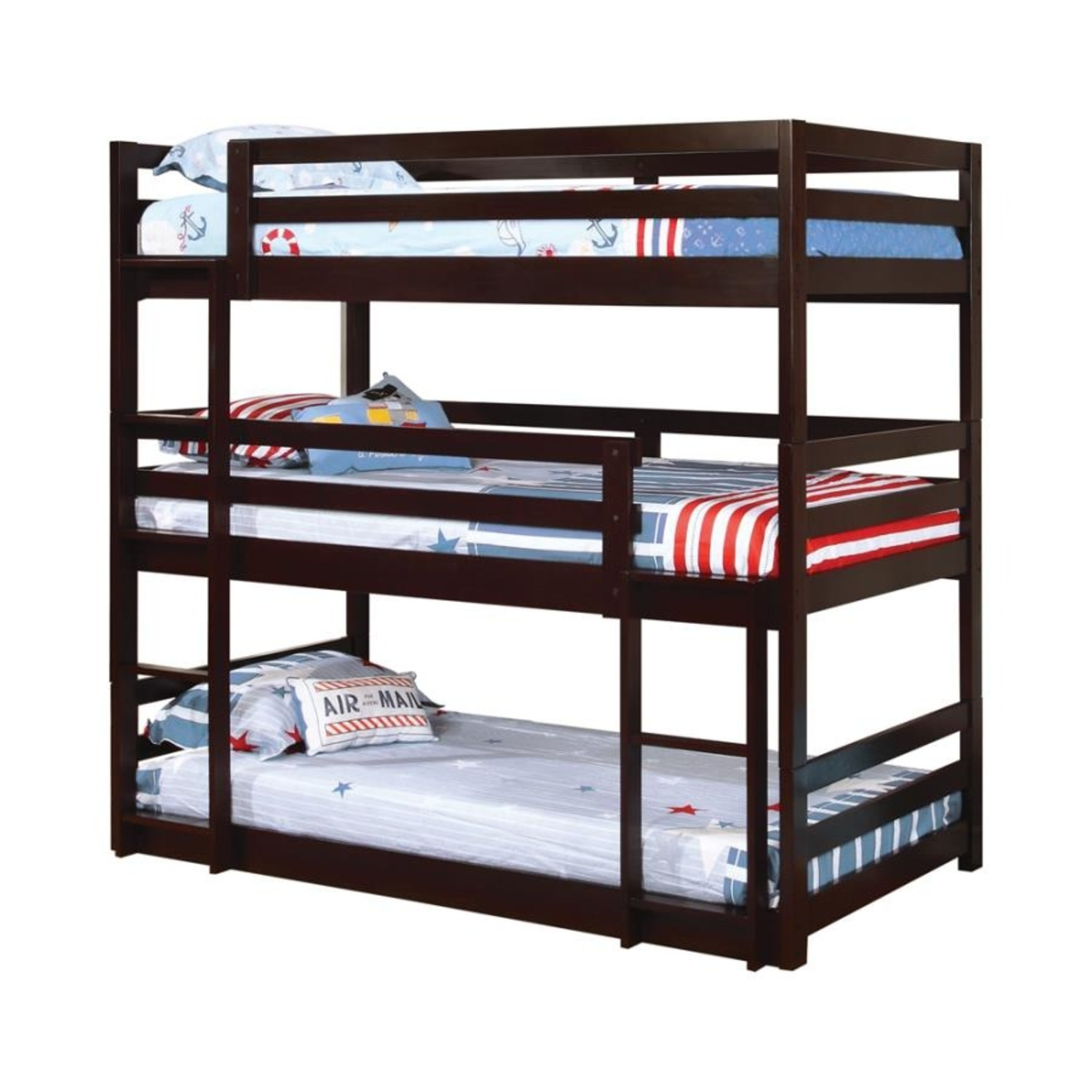 Triple Twin Bunk Bed In Cappuccino Finish - image-1