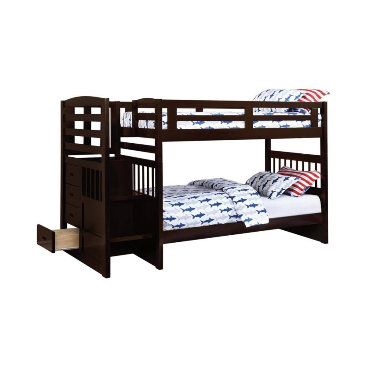 Twin Bunk Bed In Cappuccino W/ Storage Staircase - image-0