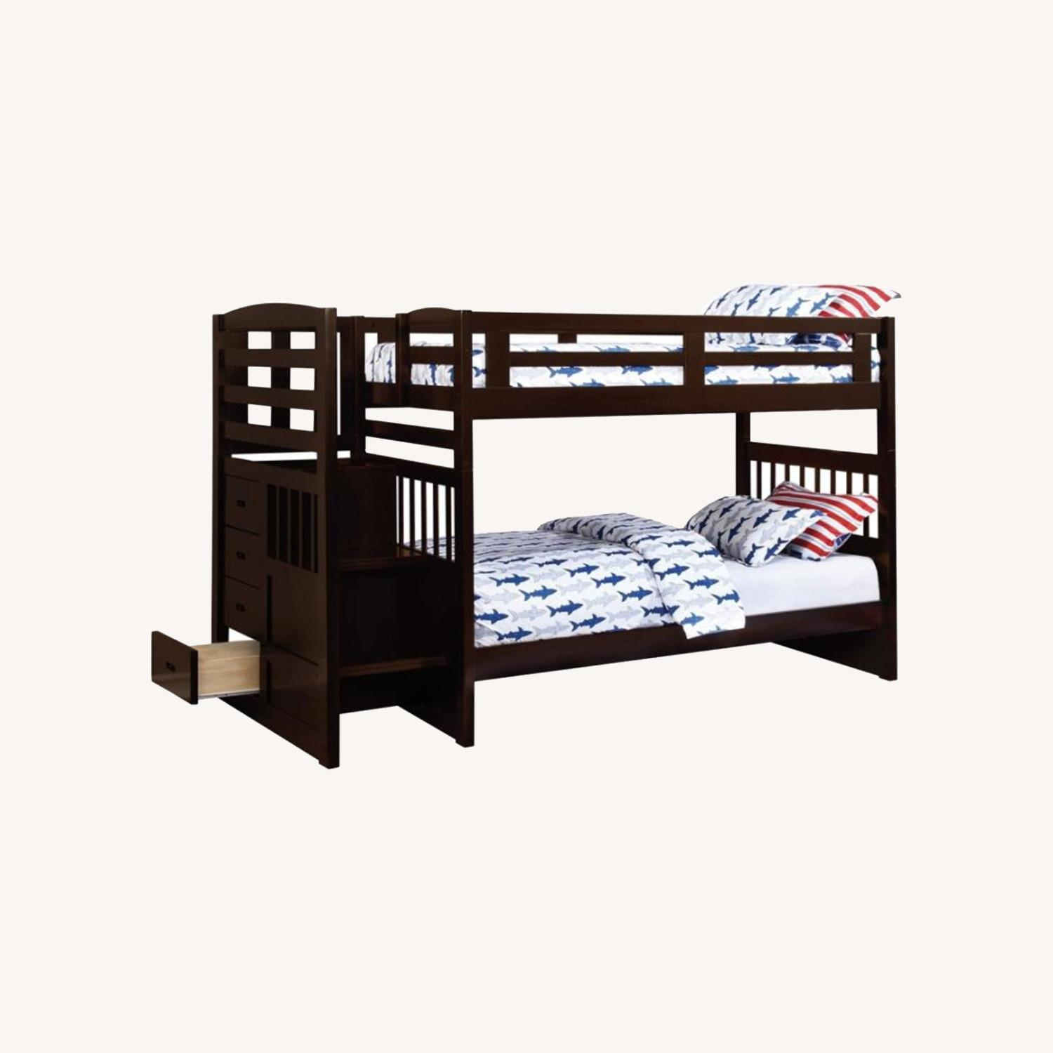 Twin Bunk Bed In Cappuccino W/ Storage Staircase - image-3