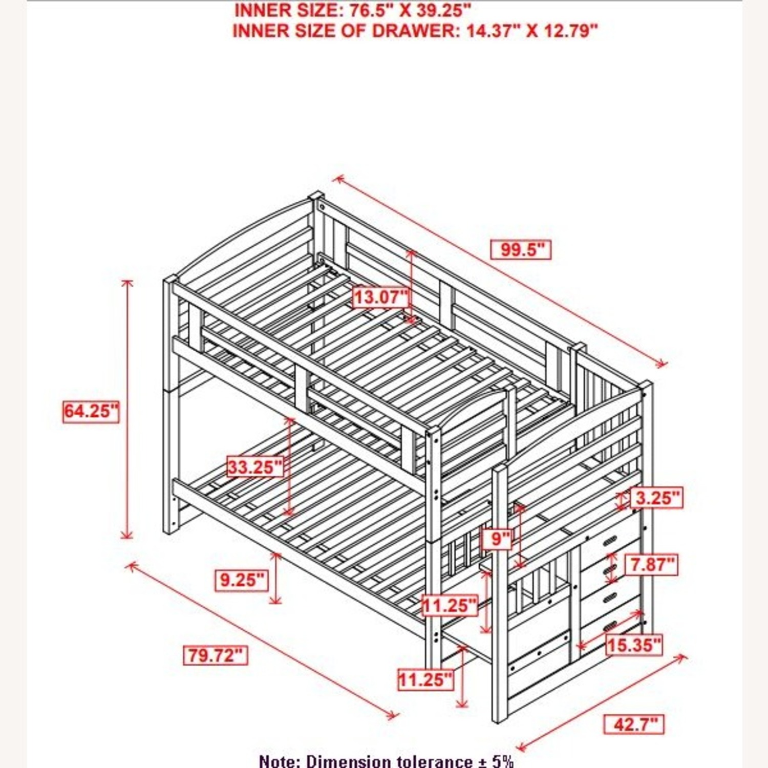 Twin Bunk Bed In Cappuccino W/ Storage Staircase - image-4
