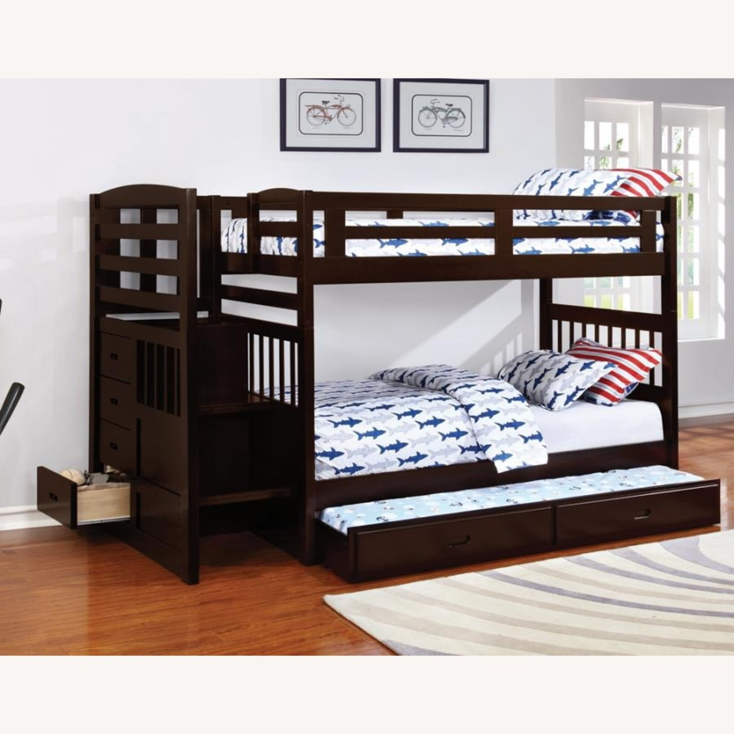 Twin Bunk Bed In Cappuccino W/ Storage Staircase - image-2
