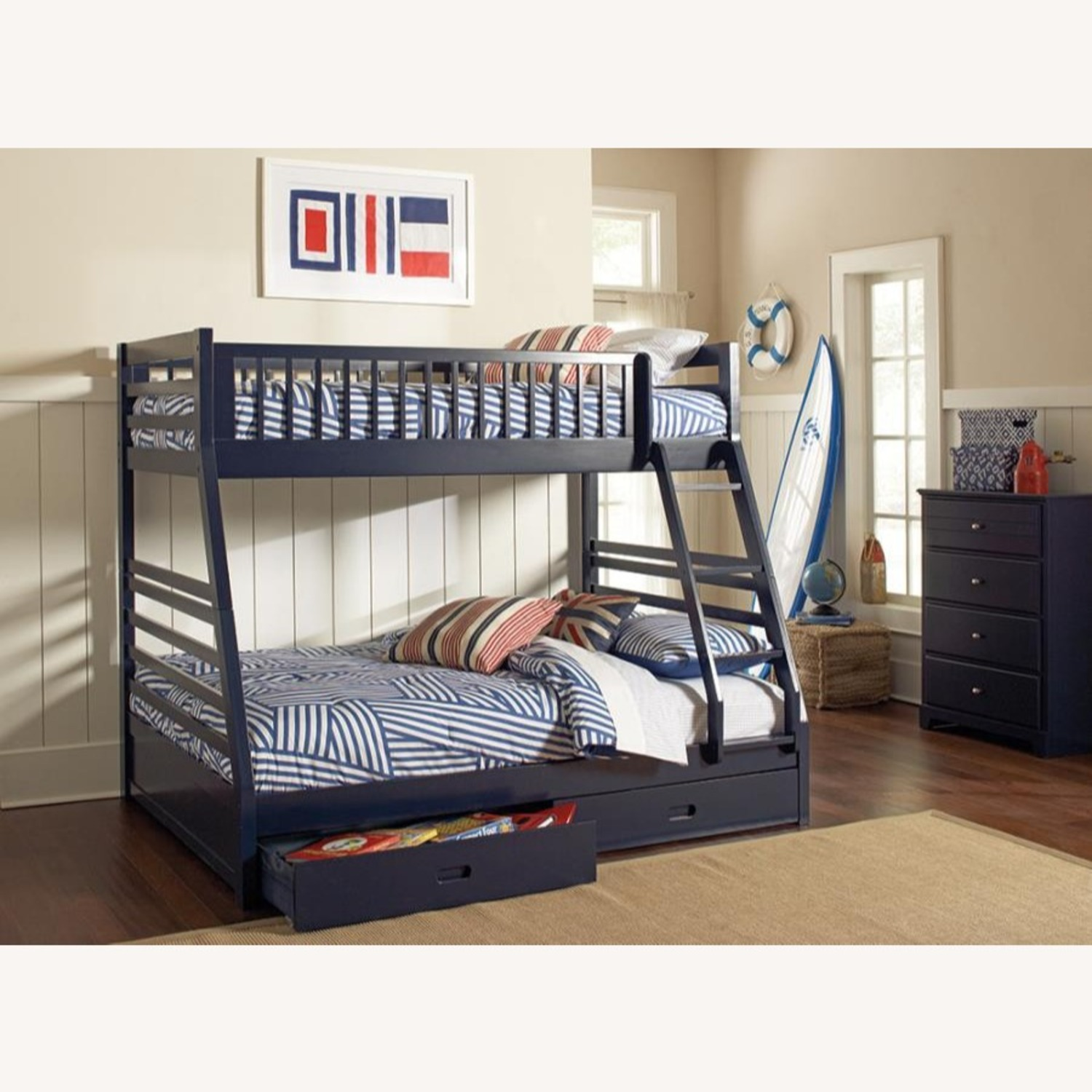 Twin Over Full Bunk Bed In Sleek Navy Blue Finish - image-1