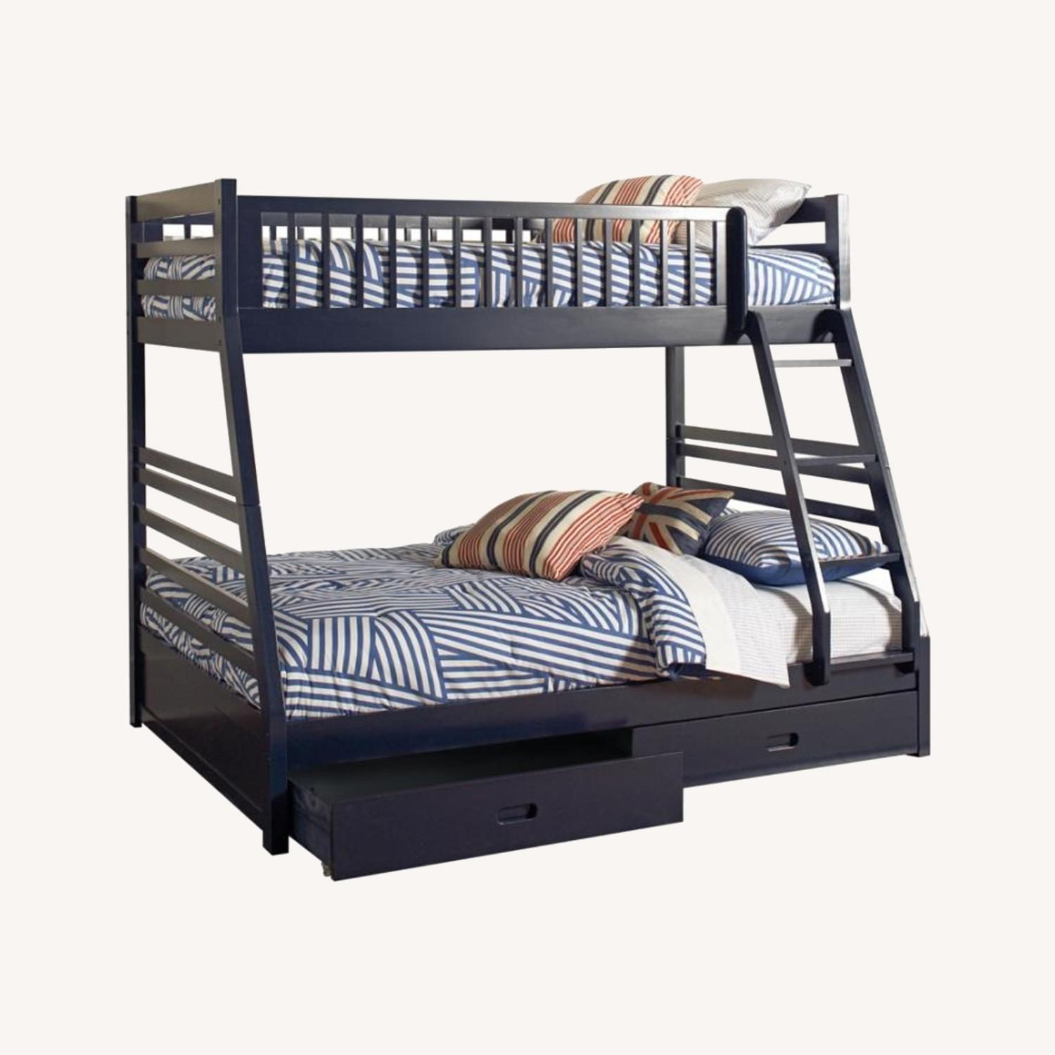 Twin Over Full Bunk Bed In Sleek Navy Blue Finish - image-3